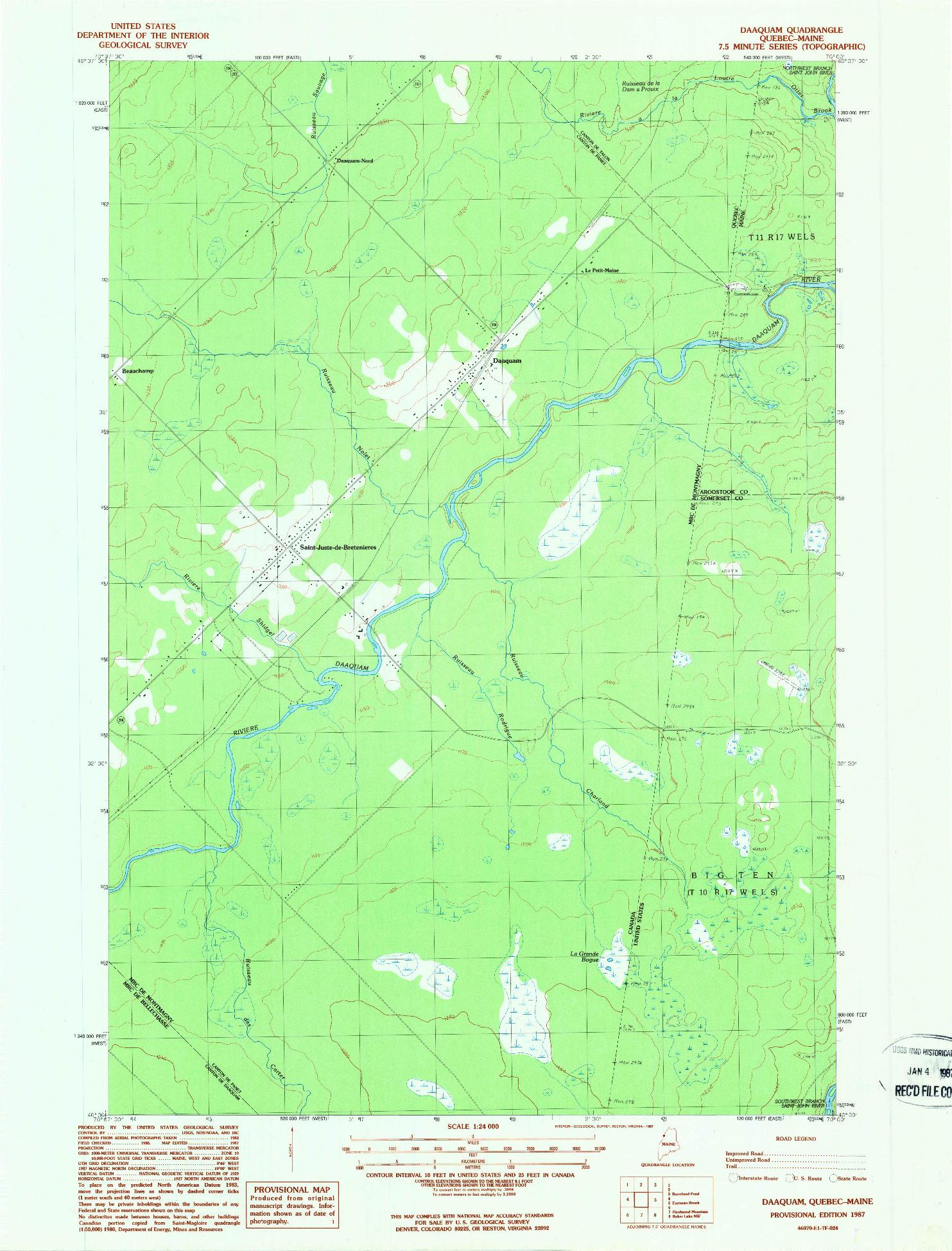 USGS 1:24000-SCALE QUADRANGLE FOR DAAQUAM, ME 1987