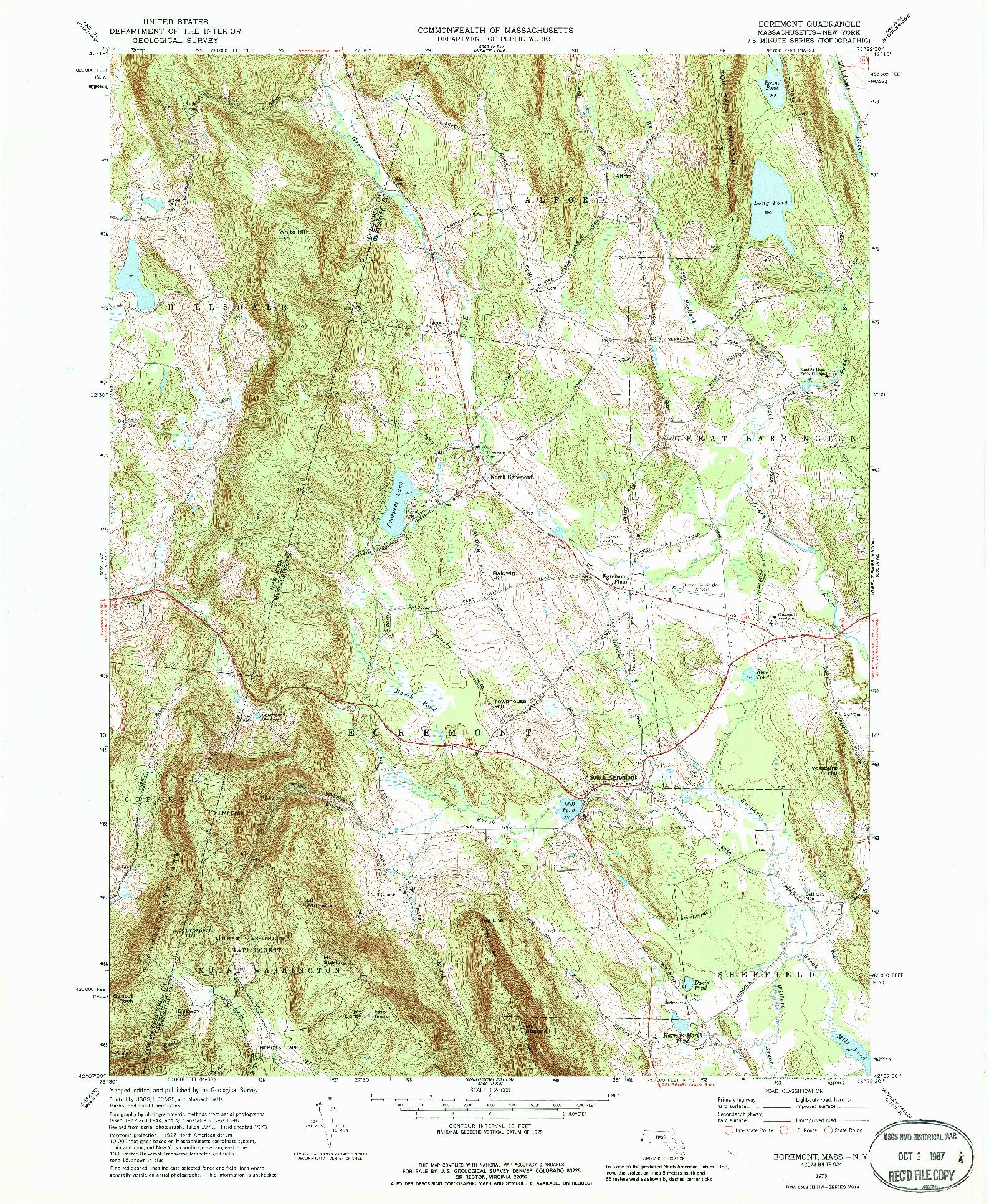 USGS 1:24000-SCALE QUADRANGLE FOR EGREMONT, MA 1973