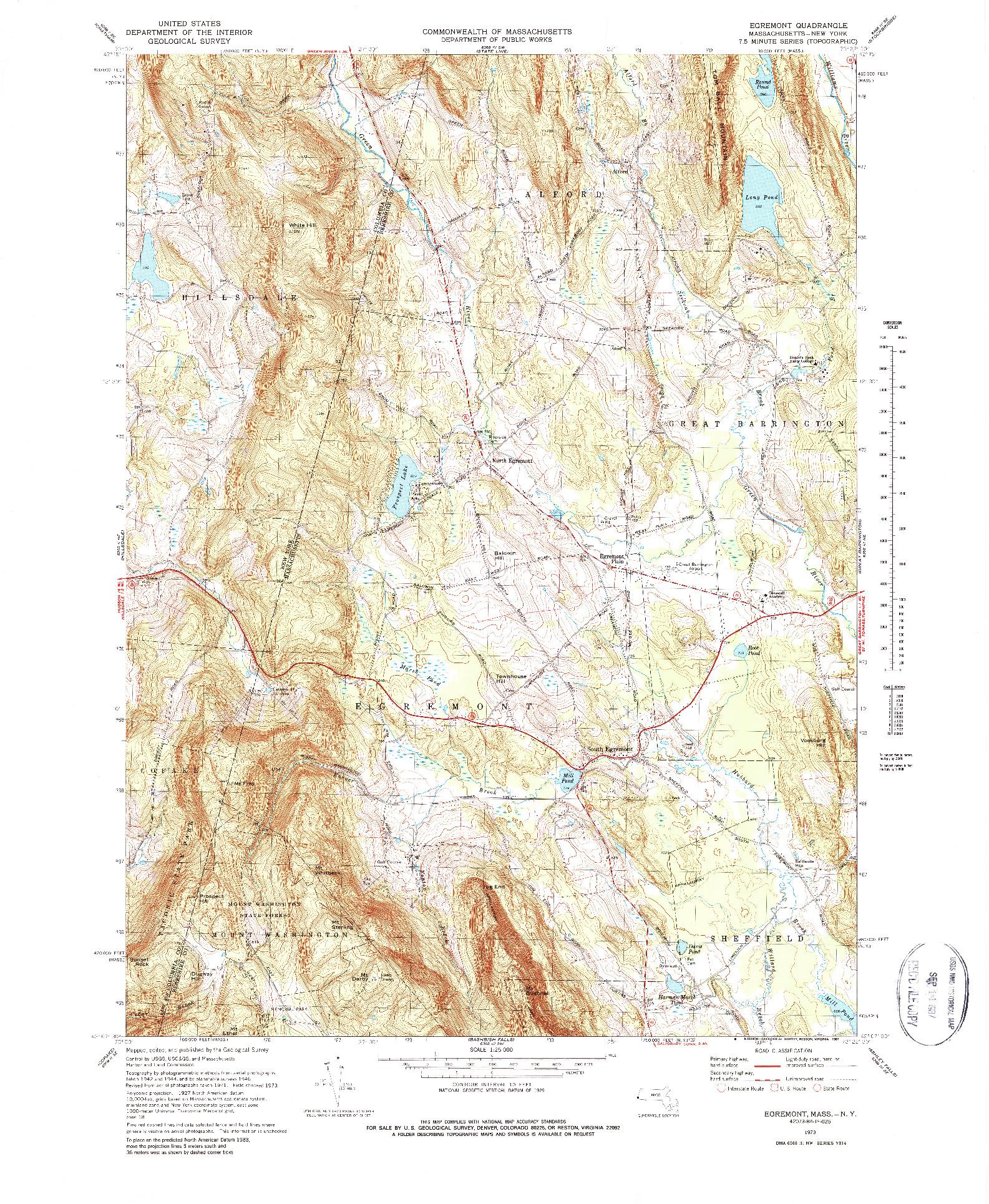 USGS 1:25000-SCALE QUADRANGLE FOR EGREMONT, MA 1973