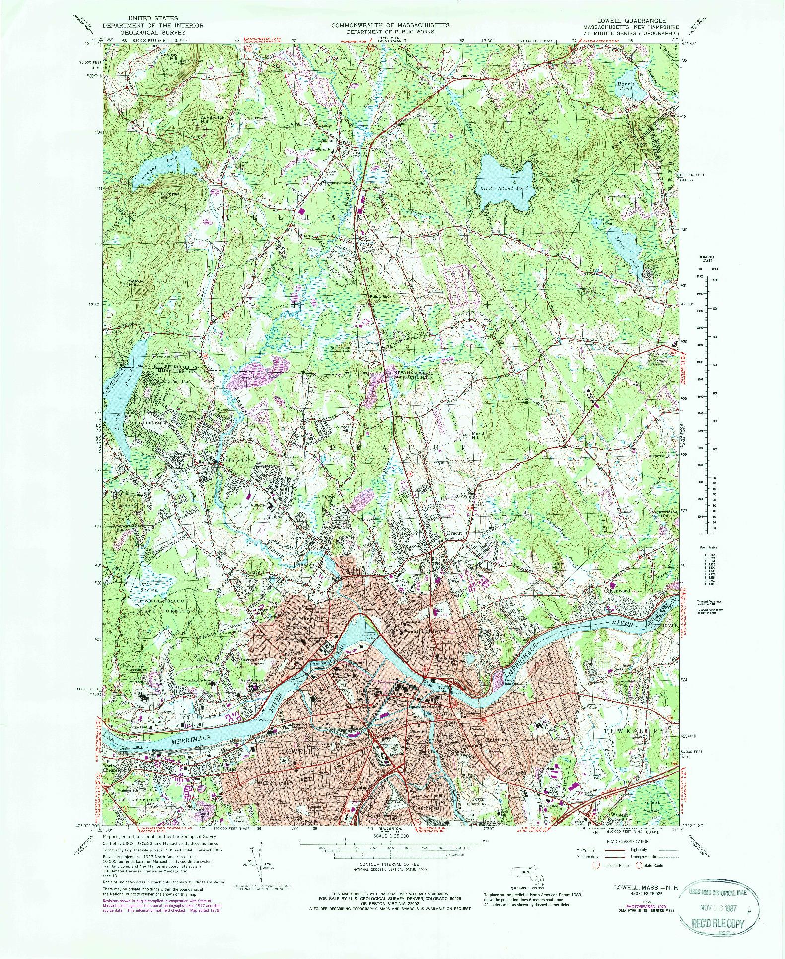 USGS 1:25000-SCALE QUADRANGLE FOR LOWELL, MA 1966