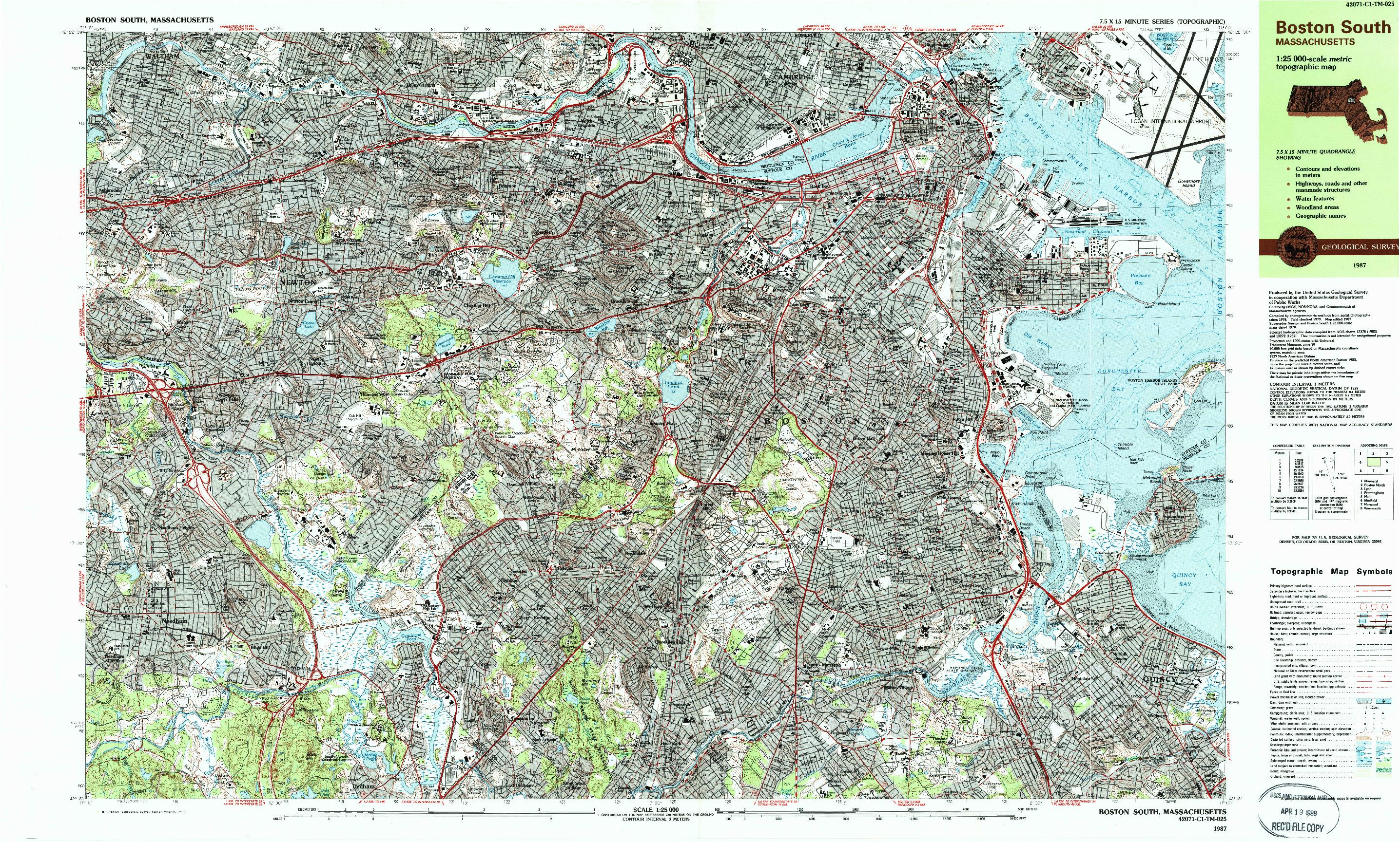 USGS 1:25000-SCALE QUADRANGLE FOR BOSTON SOUTH, MA 1987