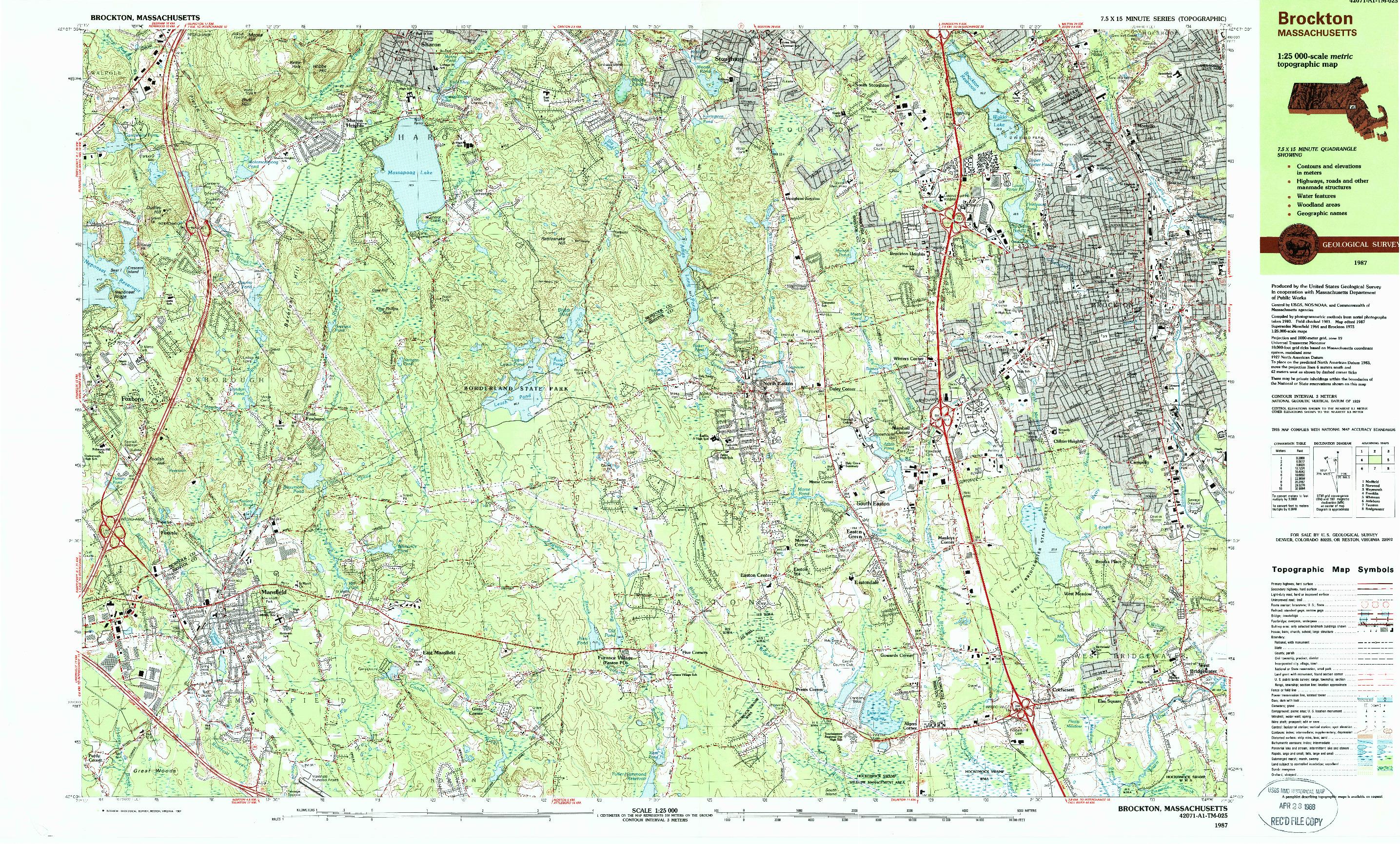 USGS 1:25000-SCALE QUADRANGLE FOR BROCKTON, MA 1987