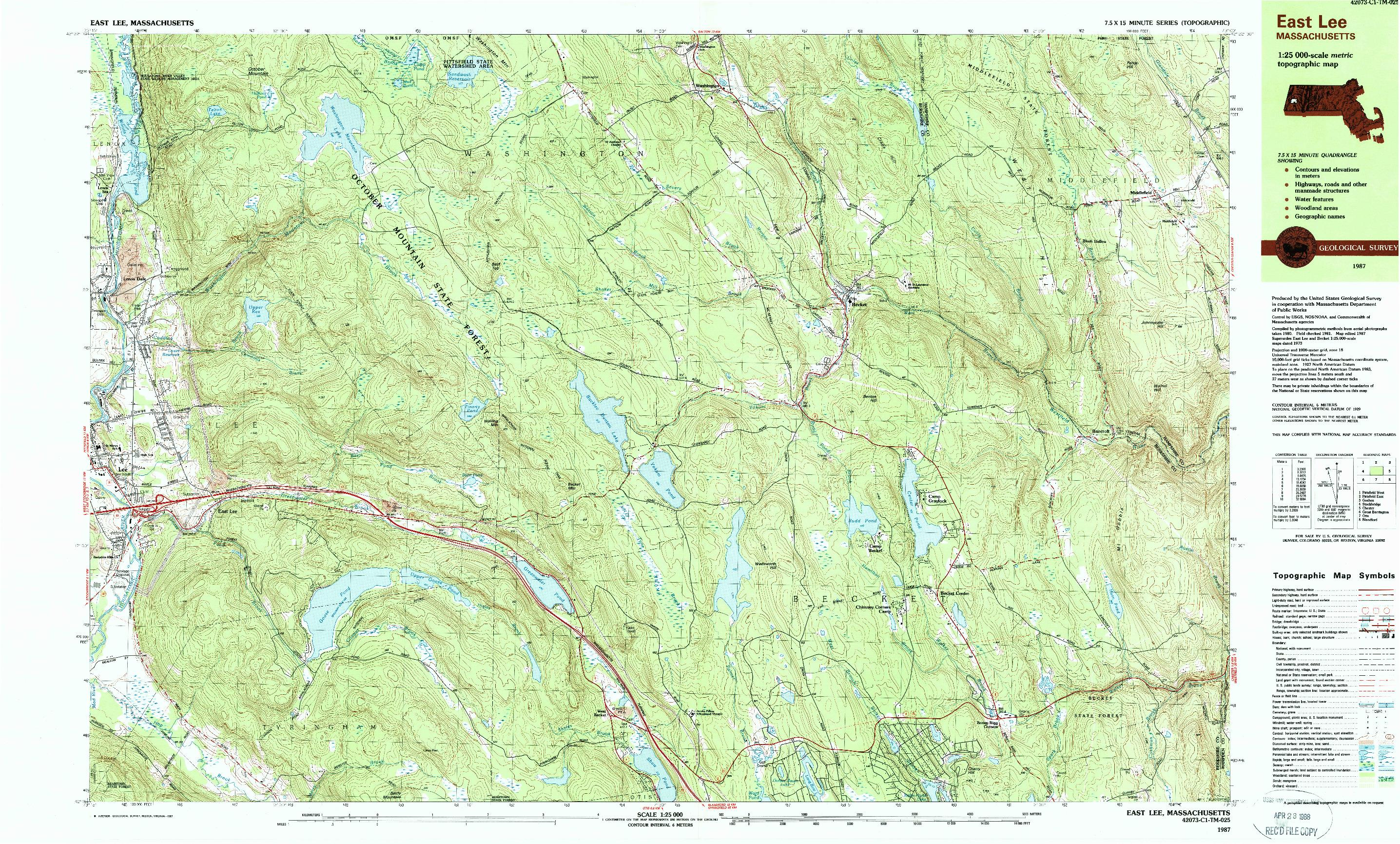 USGS 1:25000-SCALE QUADRANGLE FOR EAST LEE, MA 1987