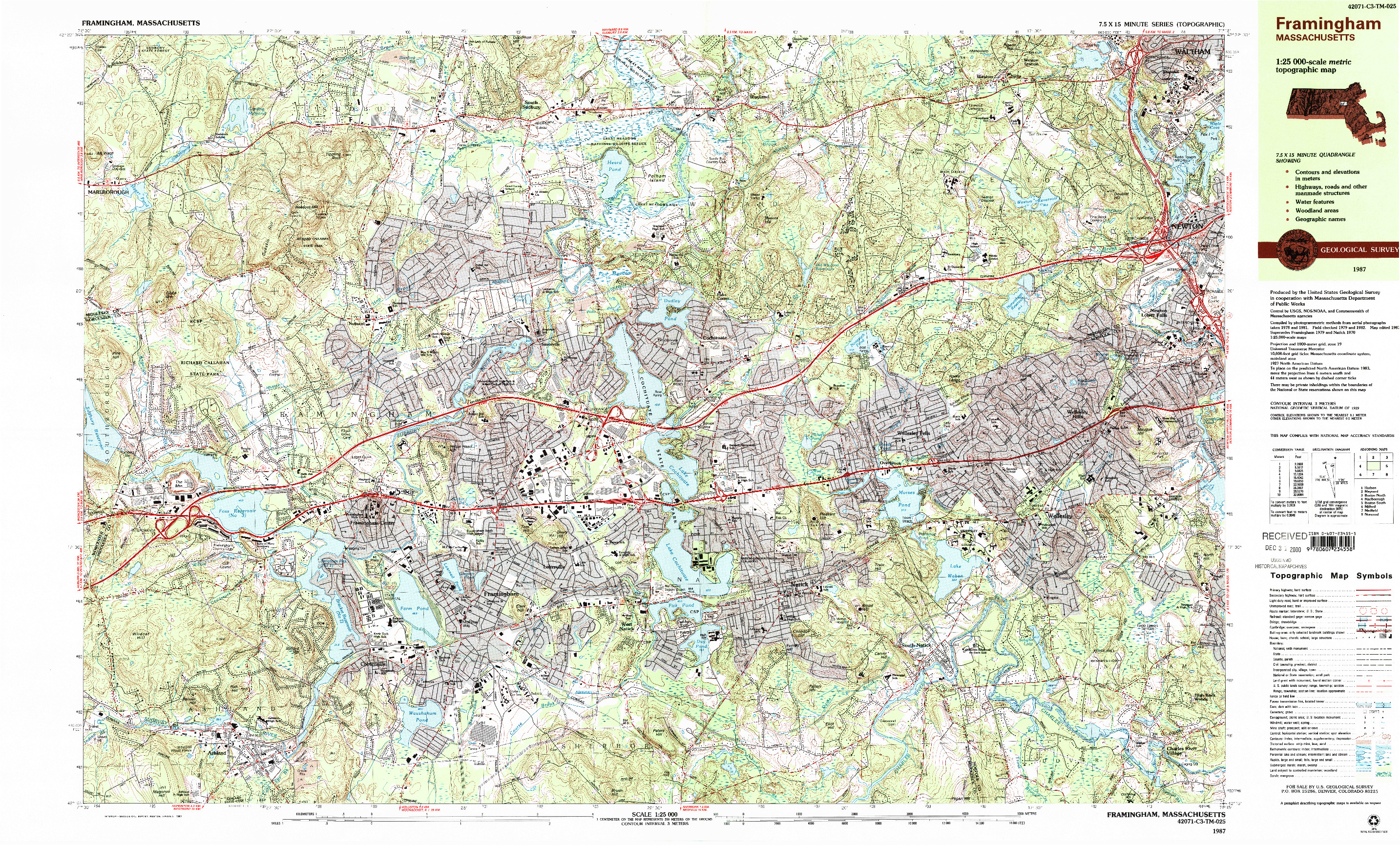 USGS 1:25000-SCALE QUADRANGLE FOR FRAMINGHAM, MA 1987
