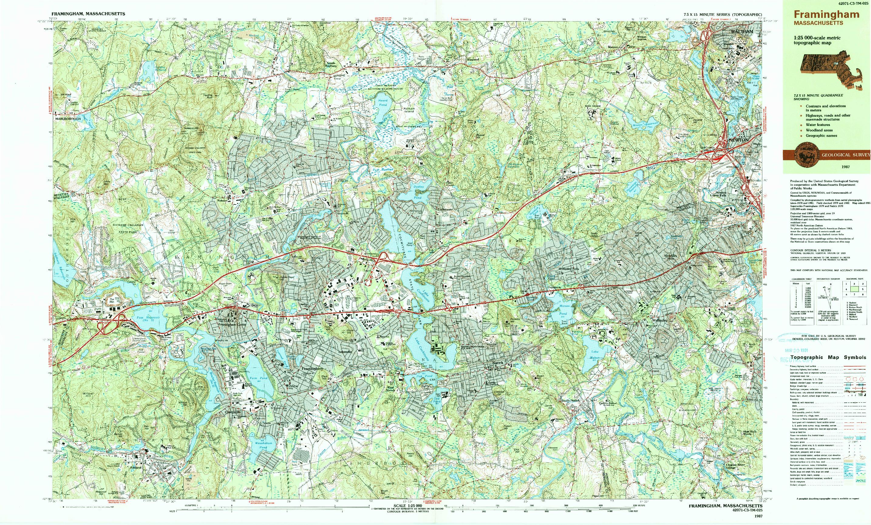 USGS 1:25000-SCALE QUADRANGLE FOR FRAMINGHAM, MA 1987