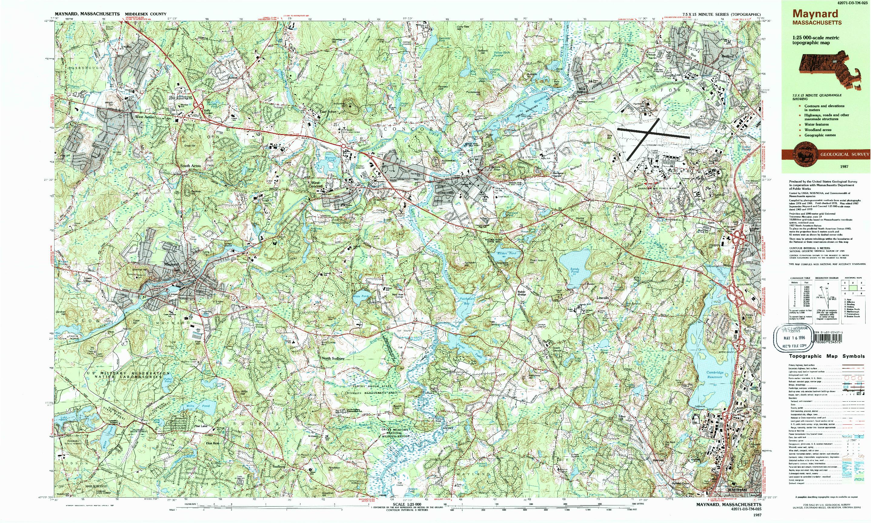 USGS 1:25000-SCALE QUADRANGLE FOR MAYNARD, MA 1987
