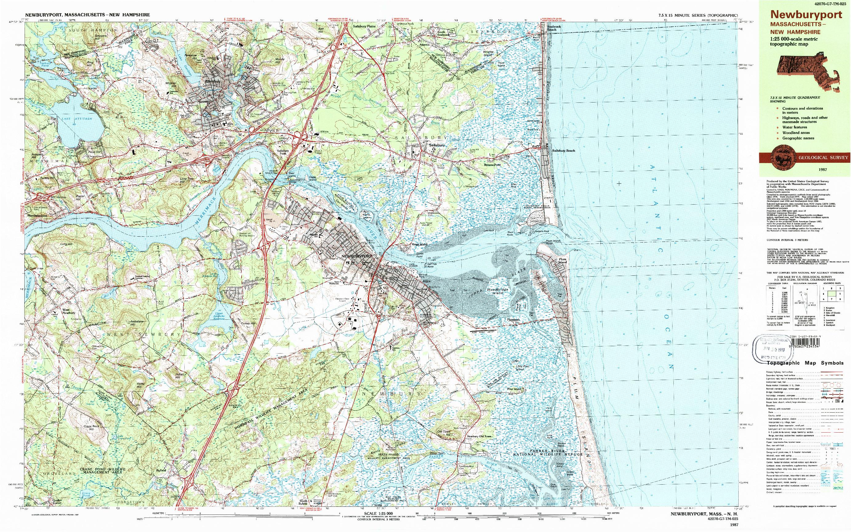 USGS 1:25000-SCALE QUADRANGLE FOR NEWBURYPORT, MA 1987