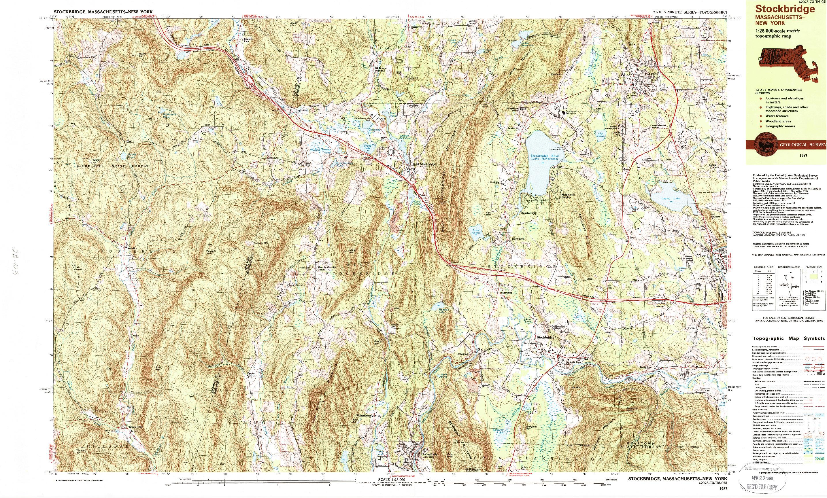 USGS 1:25000-SCALE QUADRANGLE FOR STOCKBRIDGE, MA 1987