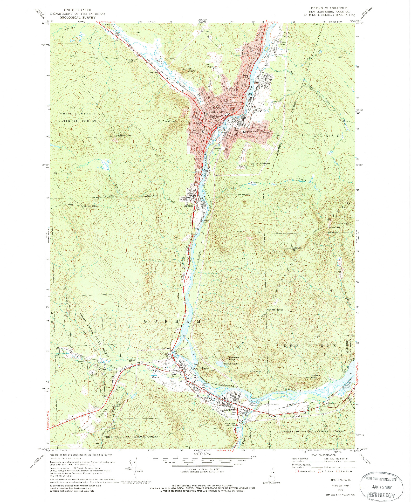USGS 1:24000-SCALE QUADRANGLE FOR BERLIN, NH 1970