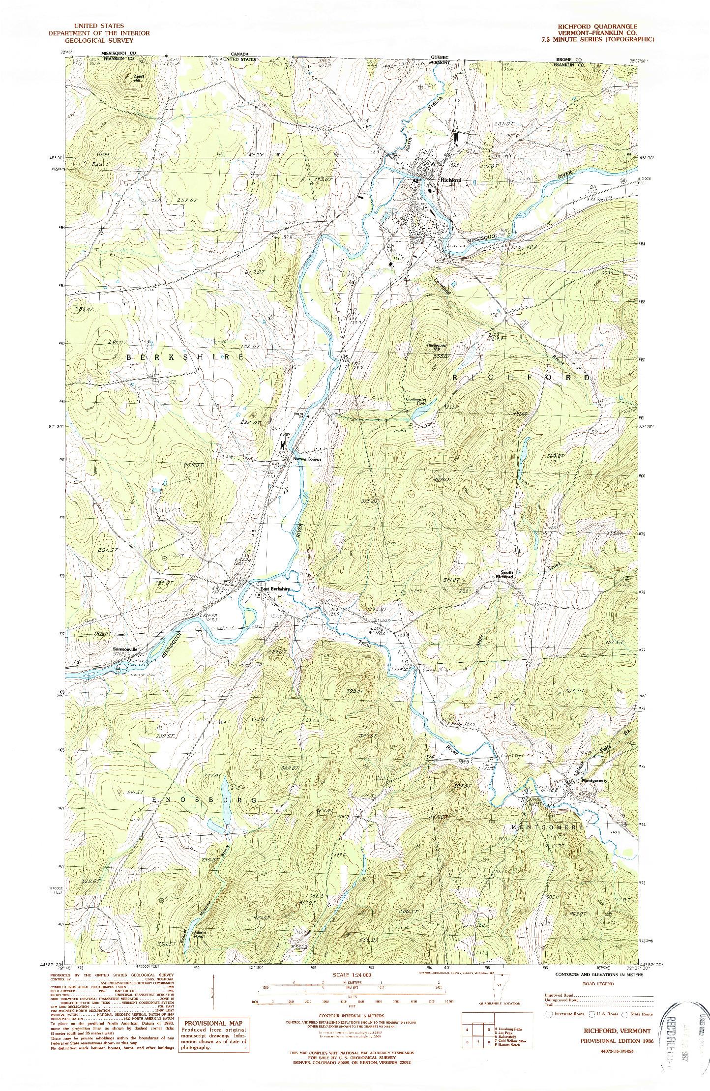 USGS 1:24000-SCALE QUADRANGLE FOR RICHFORD, VT 1986