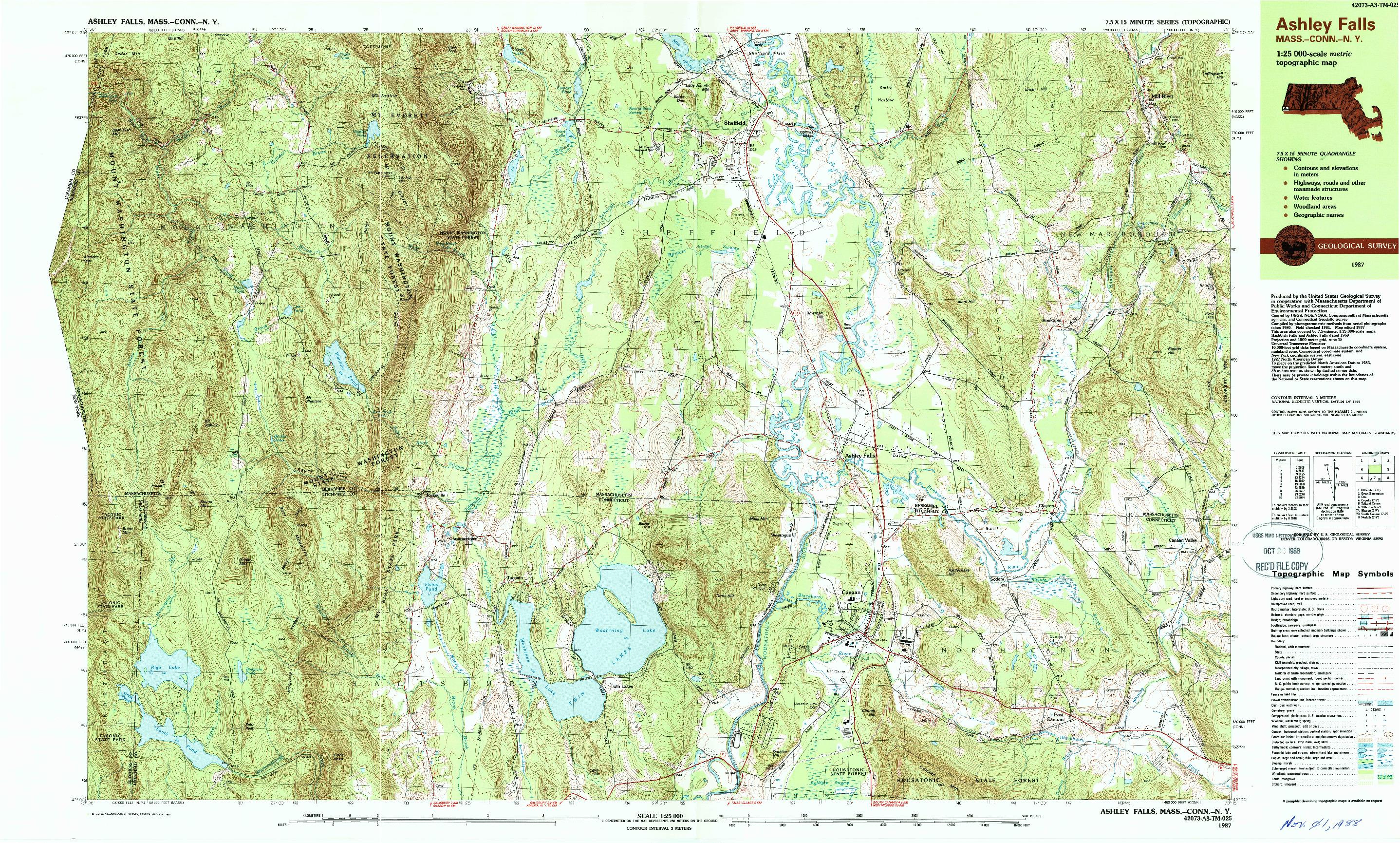 USGS 1:25000-SCALE QUADRANGLE FOR ASHLEY FALLS, MA 1987