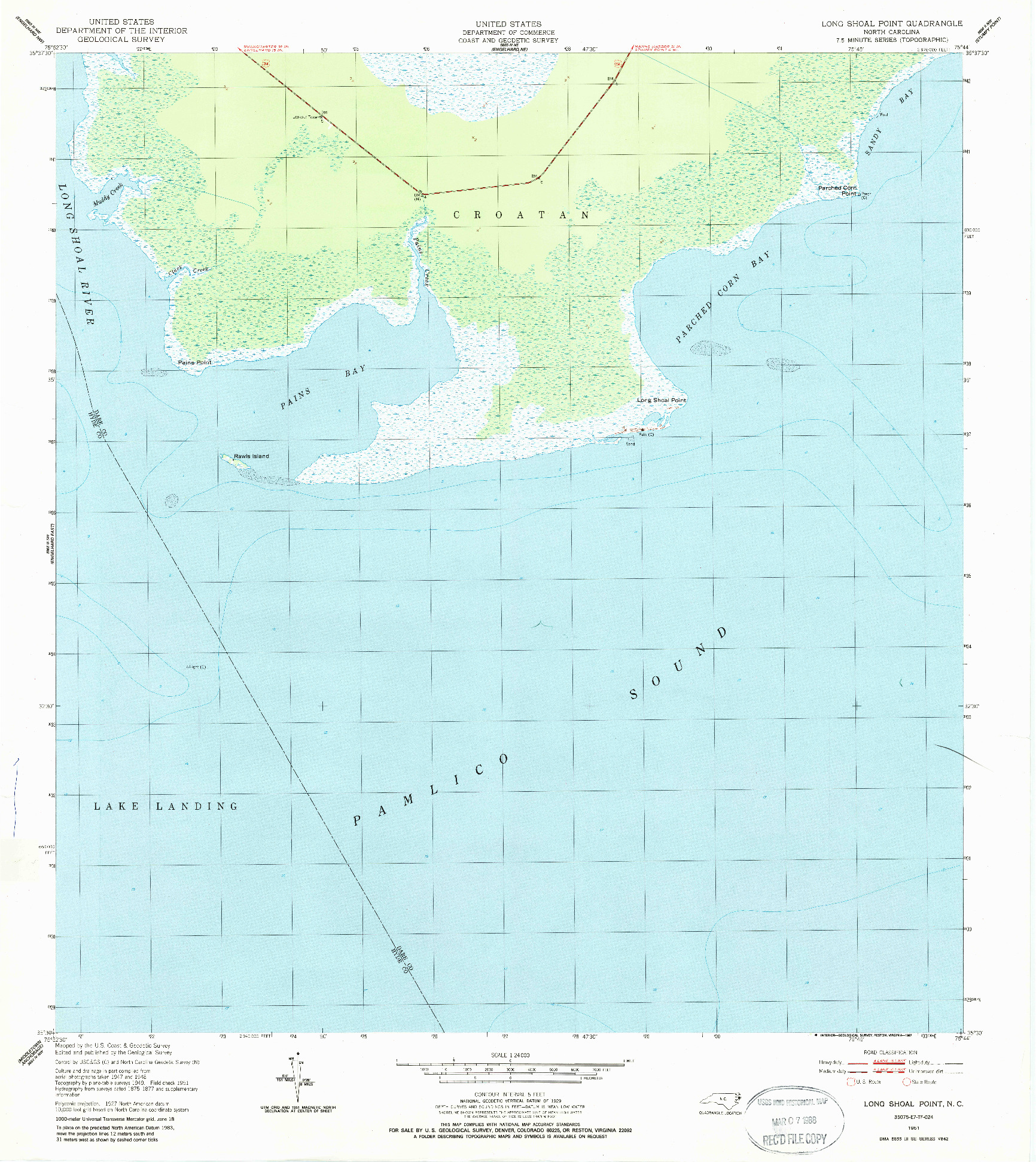 USGS 1:24000-SCALE QUADRANGLE FOR LONG SHOAL POINT, NC 1951