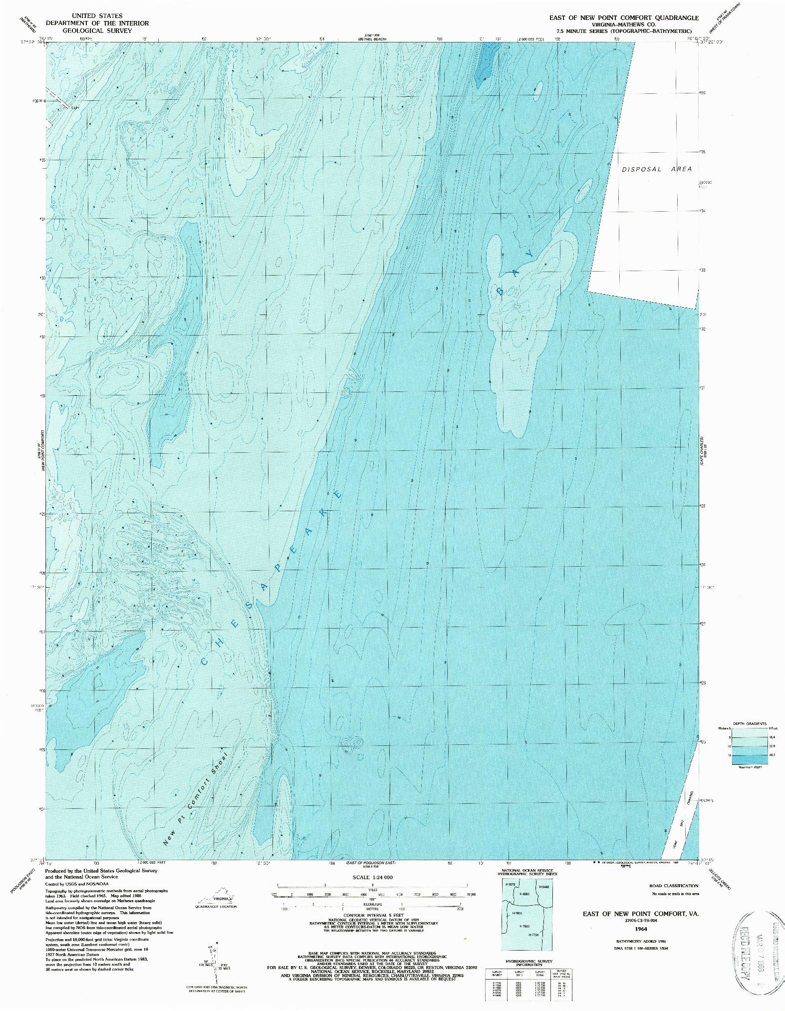 USGS 1:24000-SCALE QUADRANGLE FOR EAST OF NEW POINT COMFORT, VA 1964