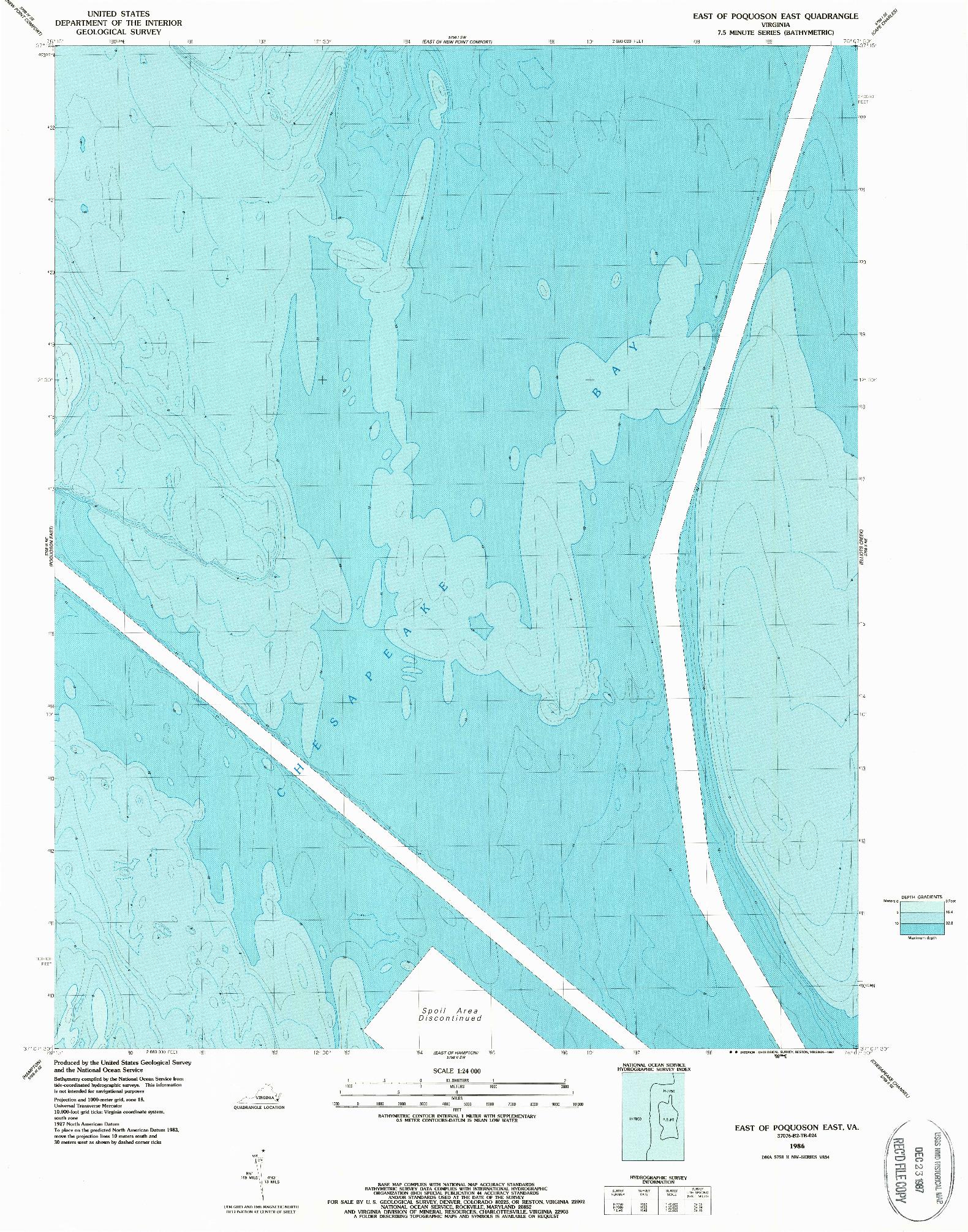 USGS 1:24000-SCALE QUADRANGLE FOR EAST OF POQUOSON EAST, VA 1986