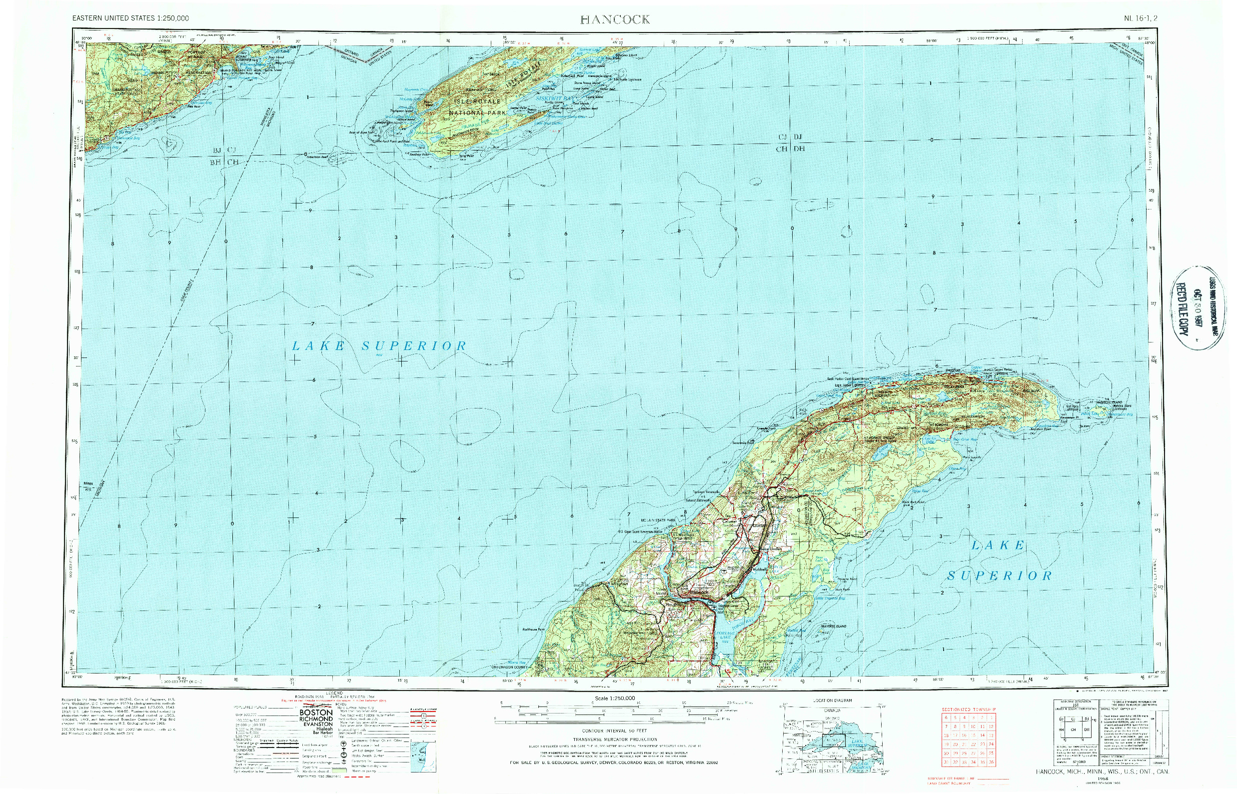 USGS 1:250000-SCALE QUADRANGLE FOR HANCOCK, MI 1966