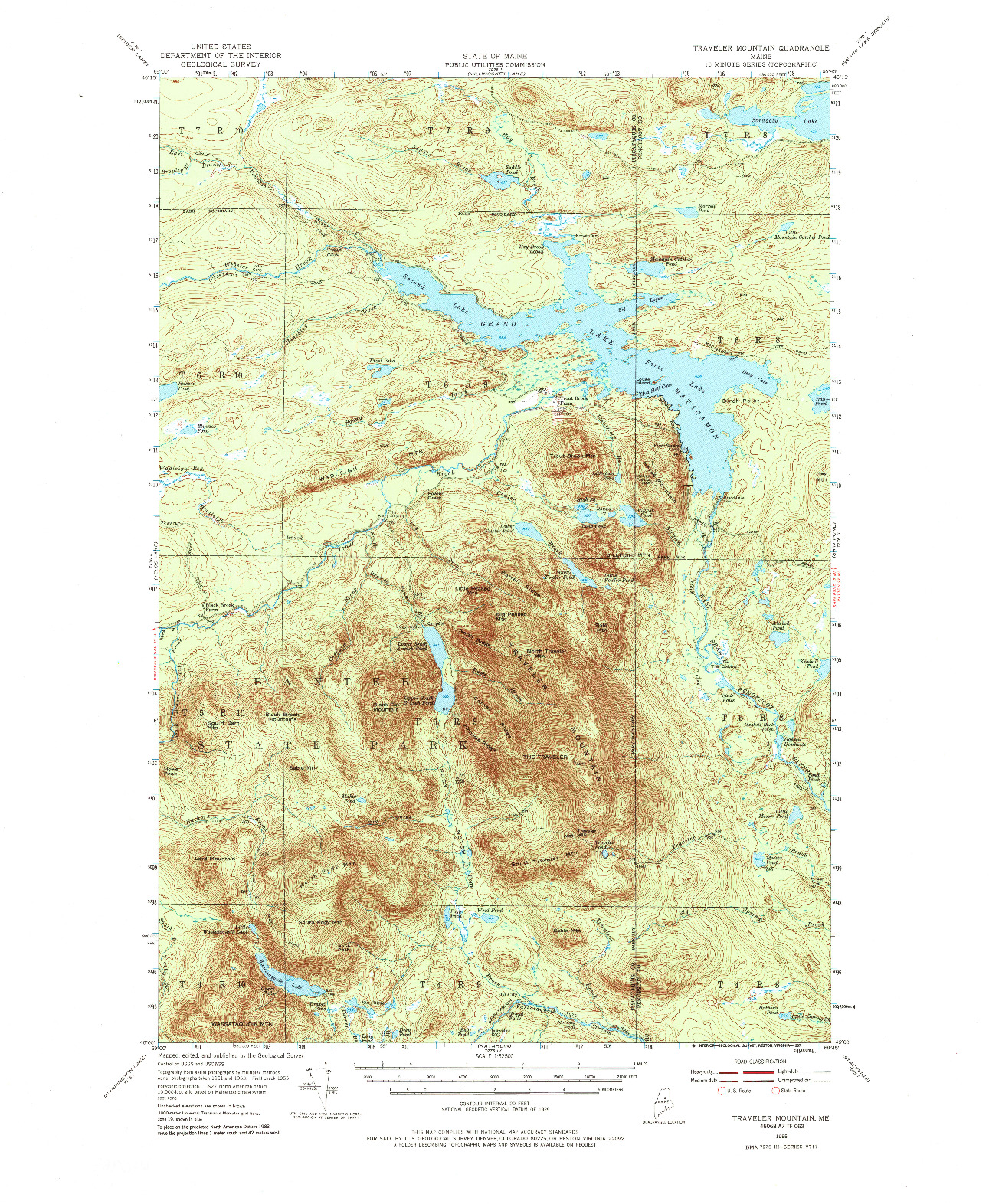 USGS 1:62500-SCALE QUADRANGLE FOR TRAVELER MOUNTAIN, ME 1955