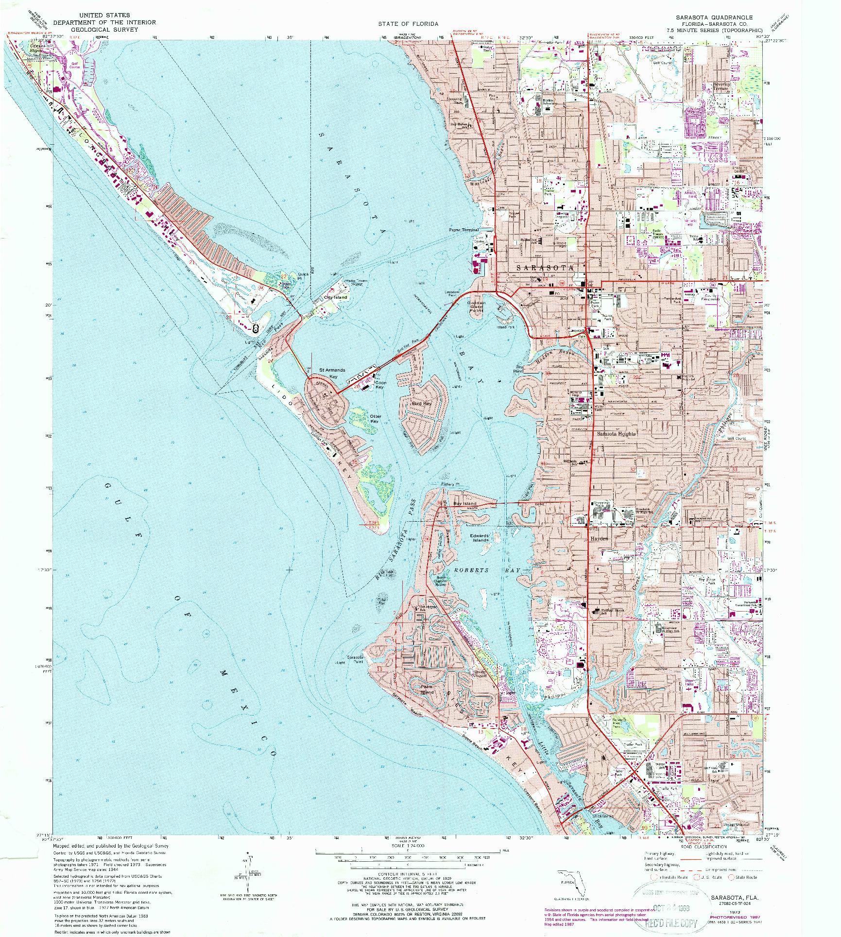 USGS 1:24000-SCALE QUADRANGLE FOR SARASOTA, FL 1973