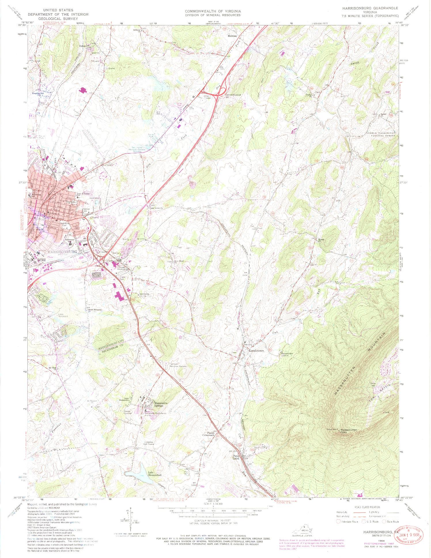 USGS 1:24000-SCALE QUADRANGLE FOR HARRISONBURG, VA 1964