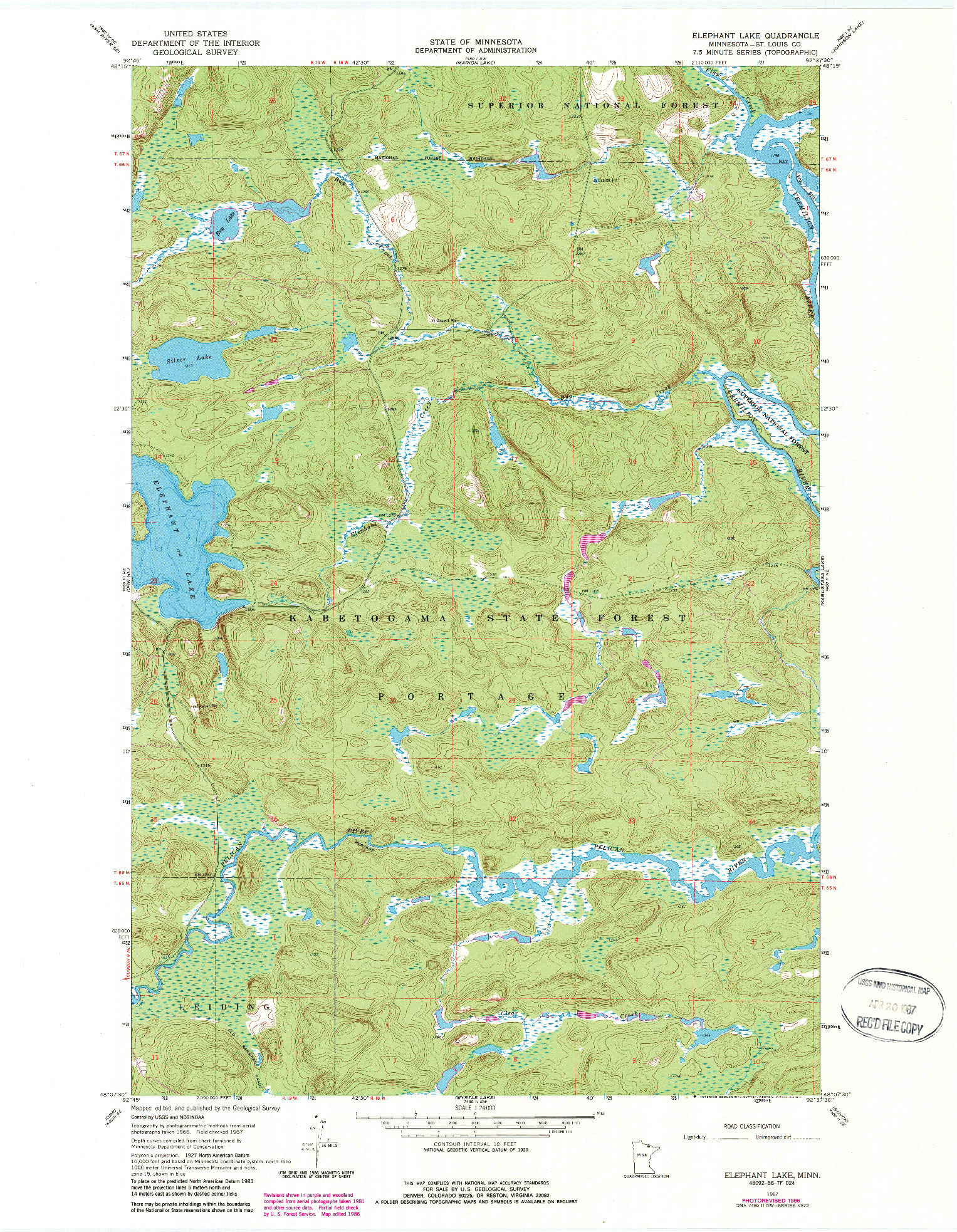 USGS 1:24000-SCALE QUADRANGLE FOR ELEPHANT LAKE, MN 1967