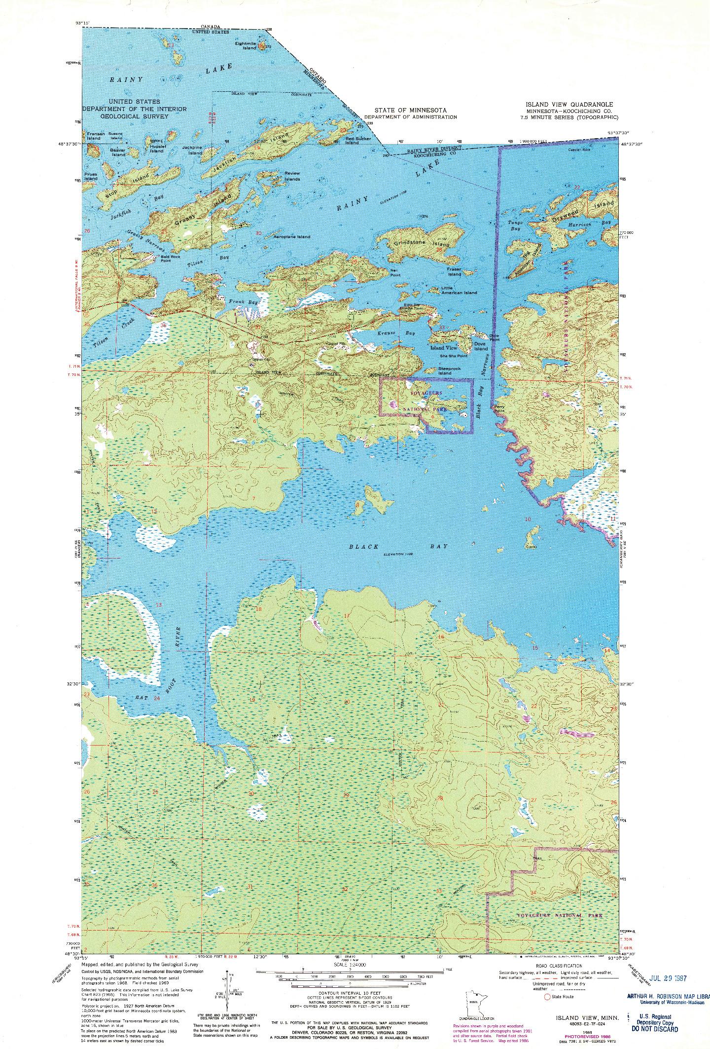 USGS 1:24000-SCALE QUADRANGLE FOR ISLAND VIEW, MN 1969