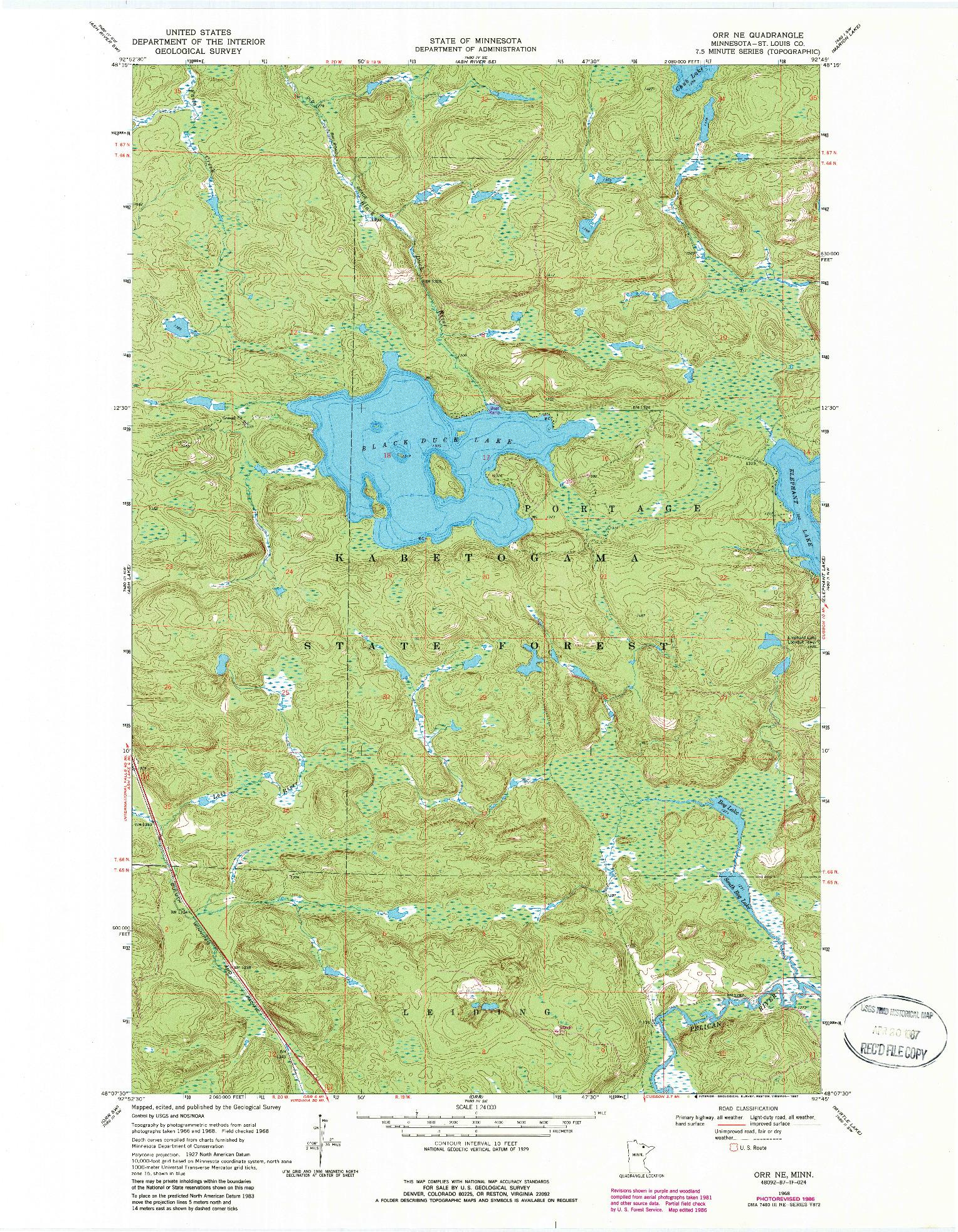 USGS 1:24000-SCALE QUADRANGLE FOR ORR NE, MN 1968