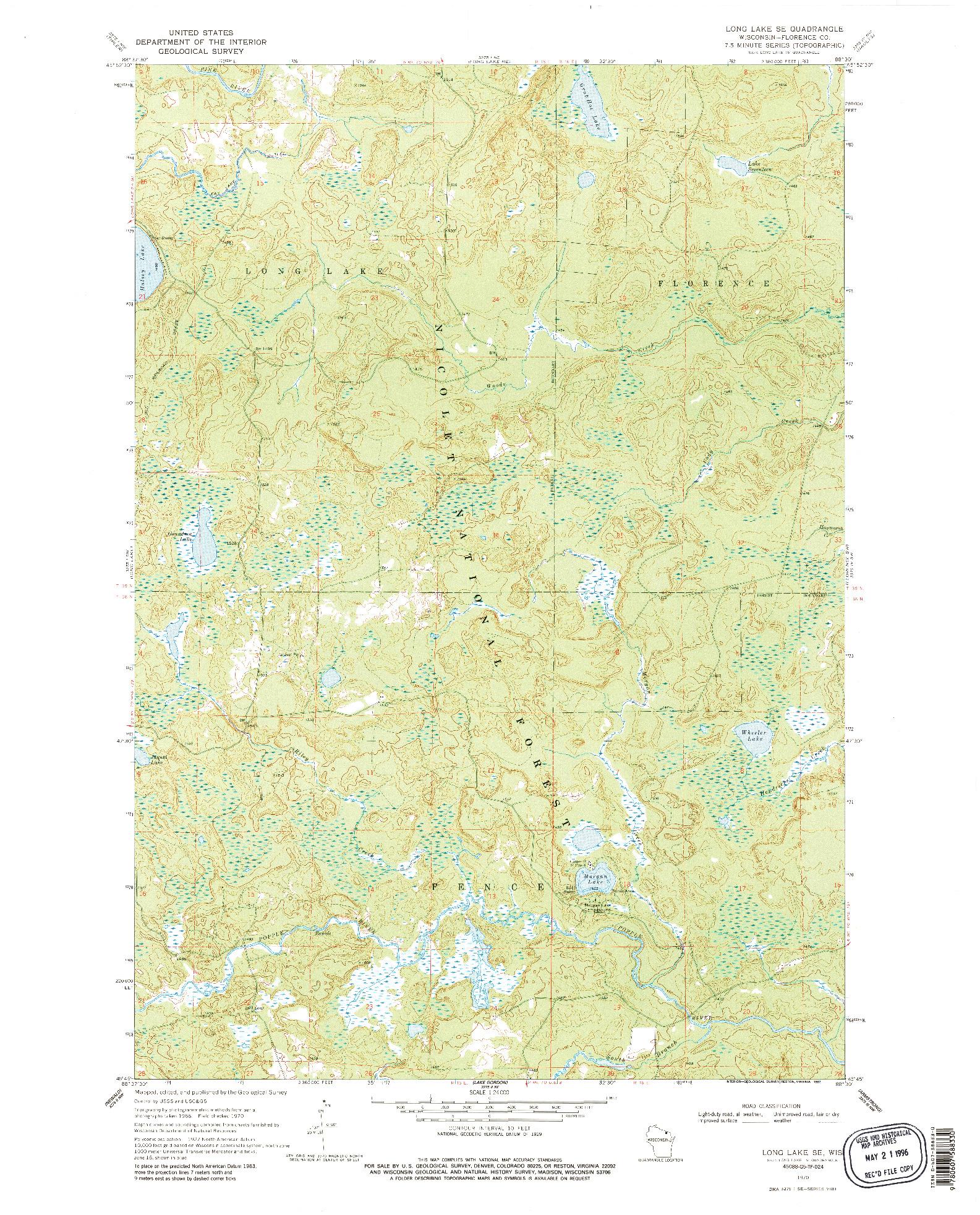 USGS 1:24000-SCALE QUADRANGLE FOR LONG LAKE SE, WI 1970