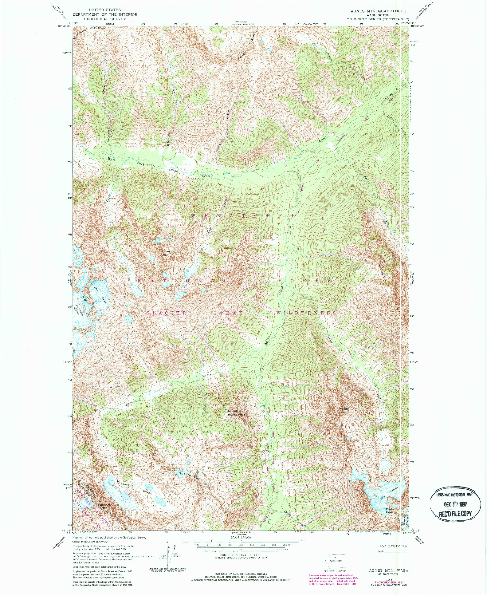 USGS 1:24000-SCALE QUADRANGLE FOR AGNES MTN., WA 1963