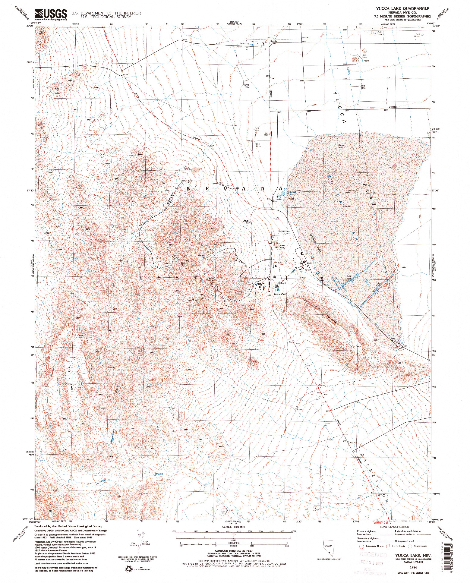 USGS 1:24000-SCALE QUADRANGLE FOR YUCCA LAKE, NV 1986