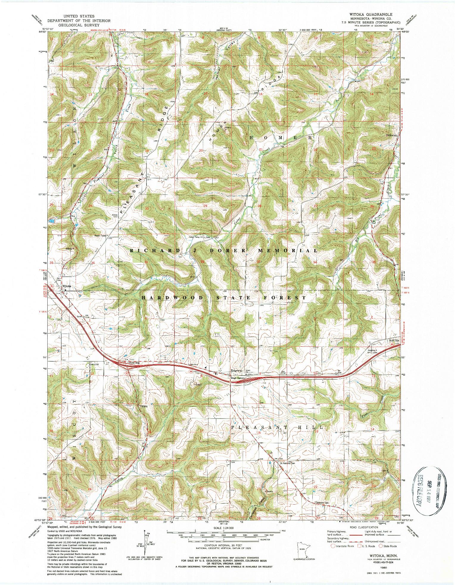 USGS 1:24000-SCALE QUADRANGLE FOR WITOKA, MN 1980