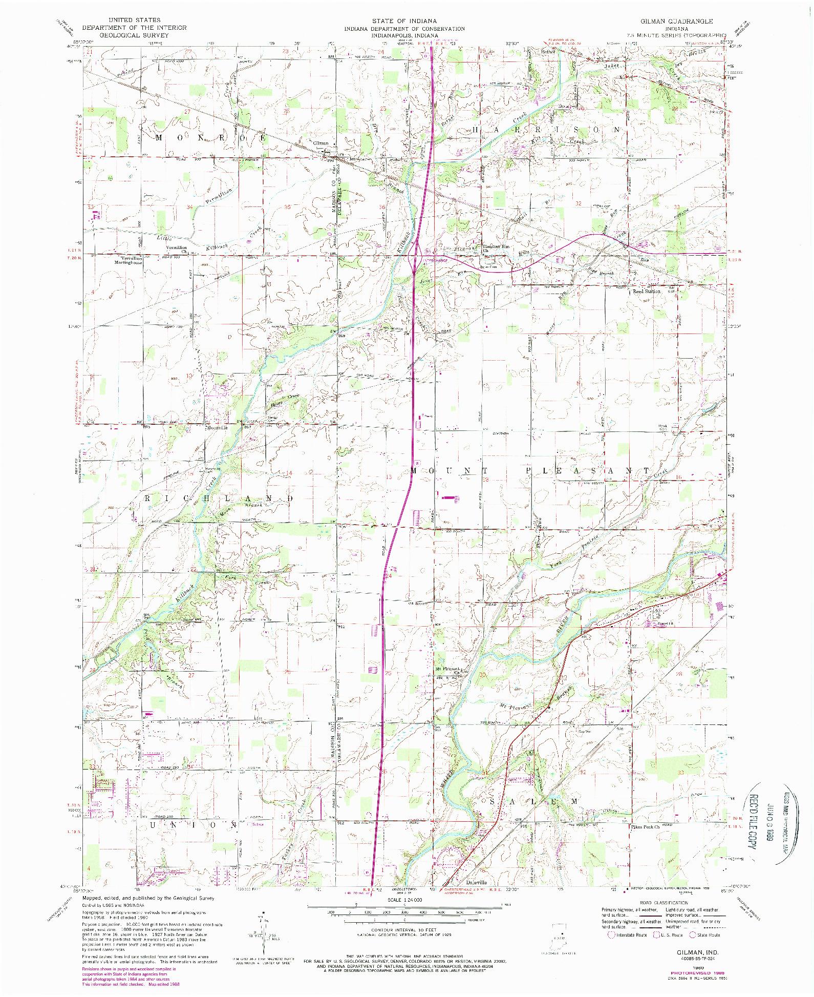 USGS 1:24000-SCALE QUADRANGLE FOR GILMAN, IN 1960