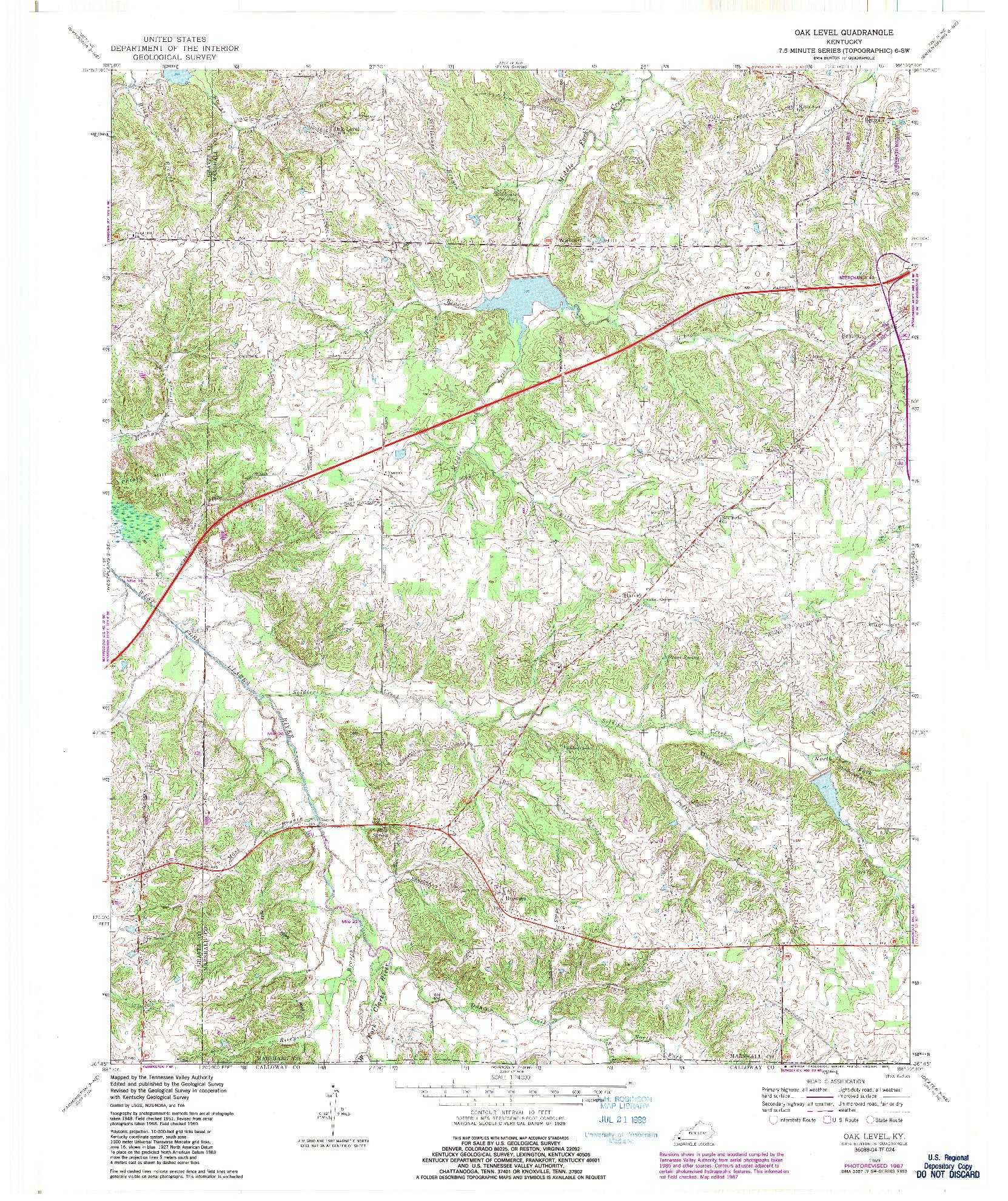USGS 1:24000-SCALE QUADRANGLE FOR OAK LEVEL, KY 1969