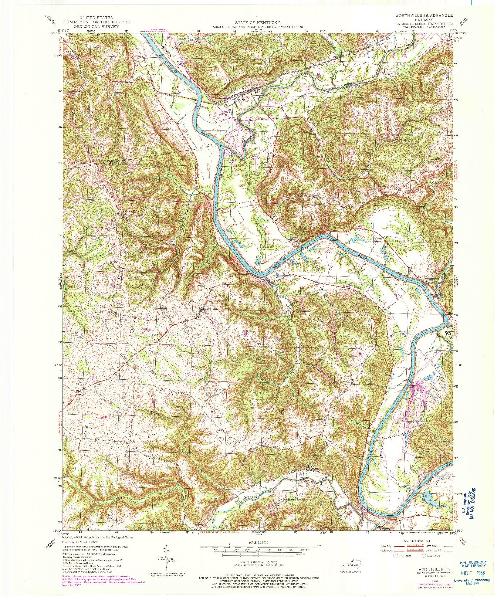 USGS 1:24000-SCALE QUADRANGLE FOR WORTHVILLE, KY 1952