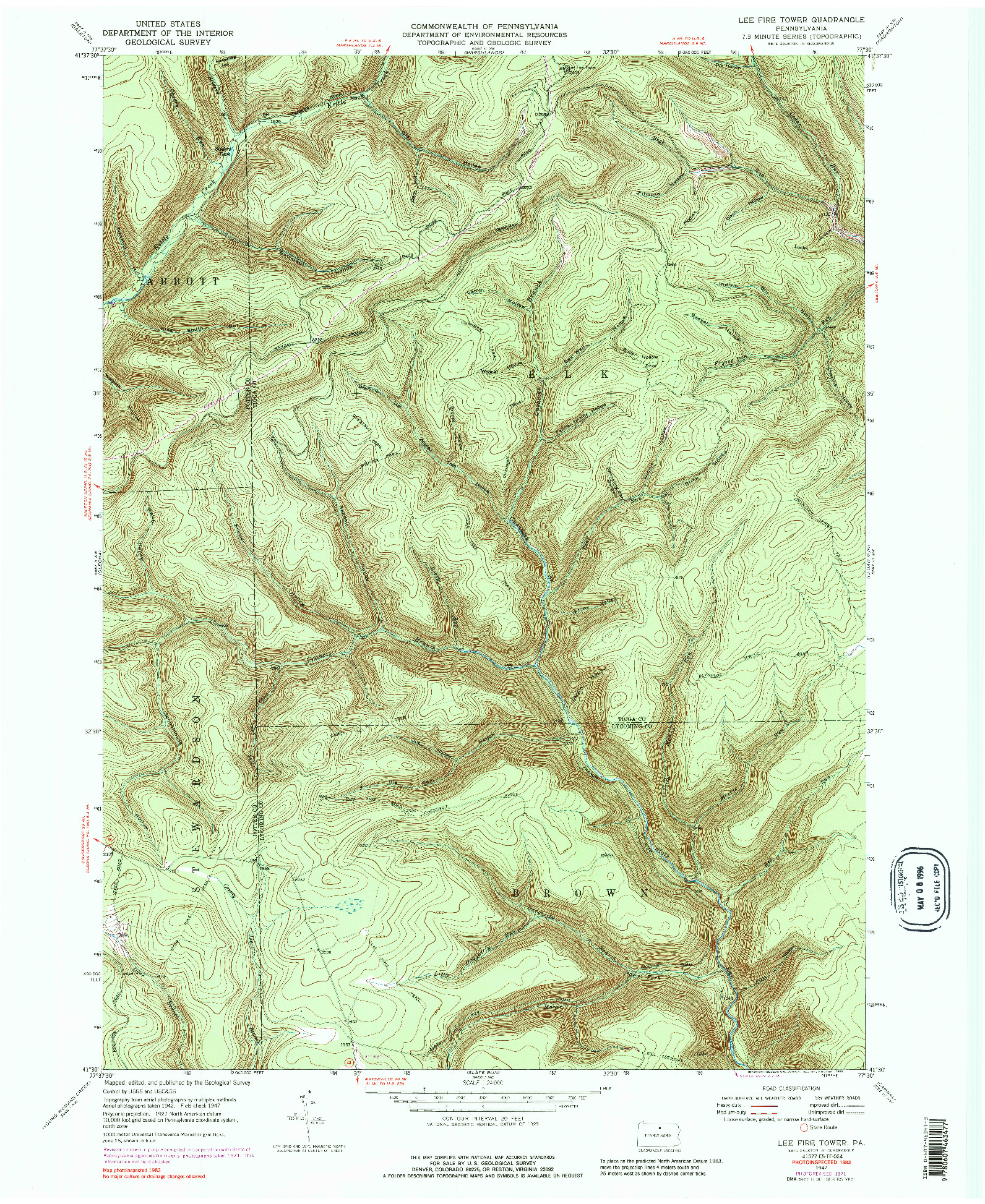 USGS 1:24000-SCALE QUADRANGLE FOR LEE FIRE TOWER, PA 1947