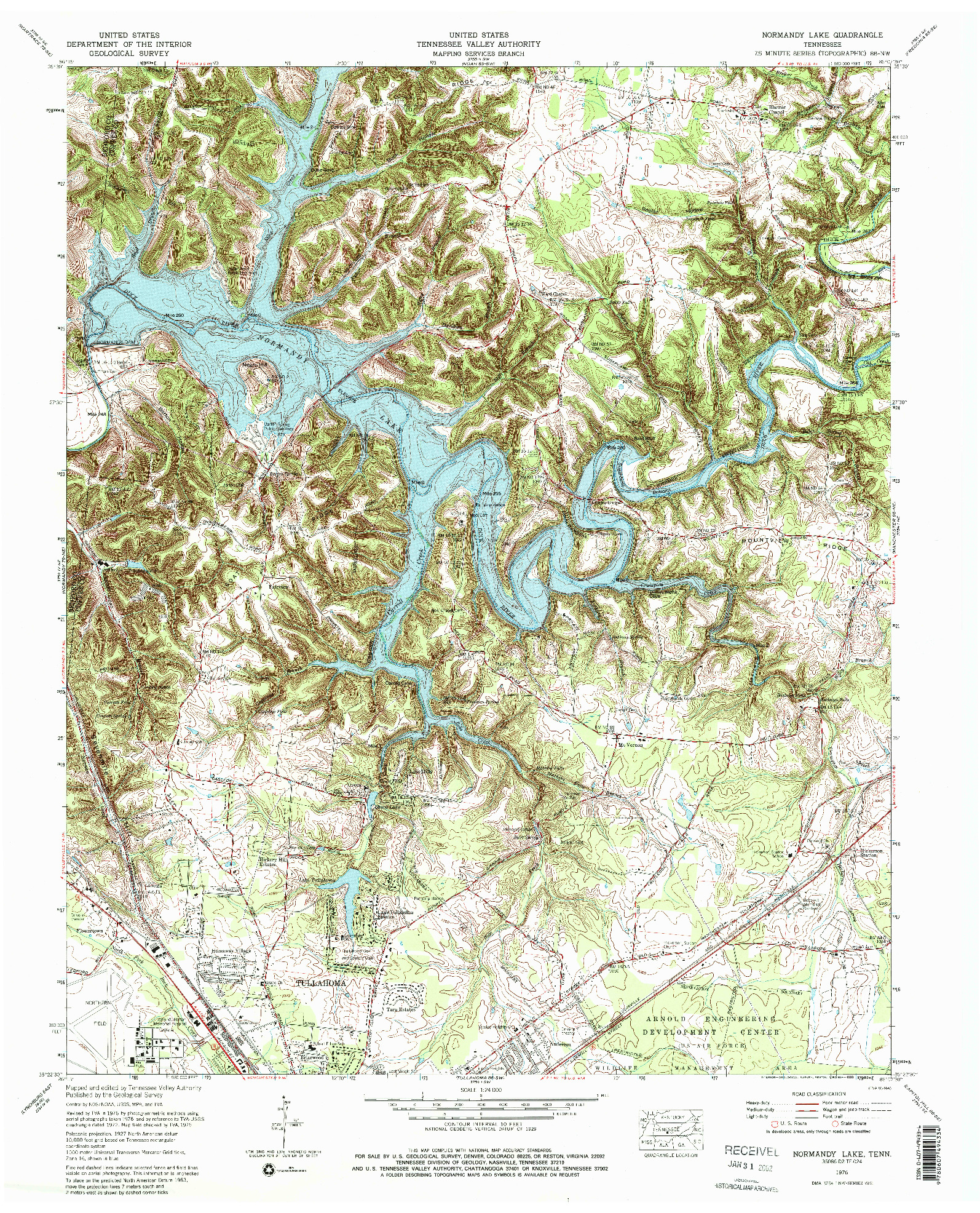 USGS 1:24000-SCALE QUADRANGLE FOR NORMANDY LAKE, TN 1976