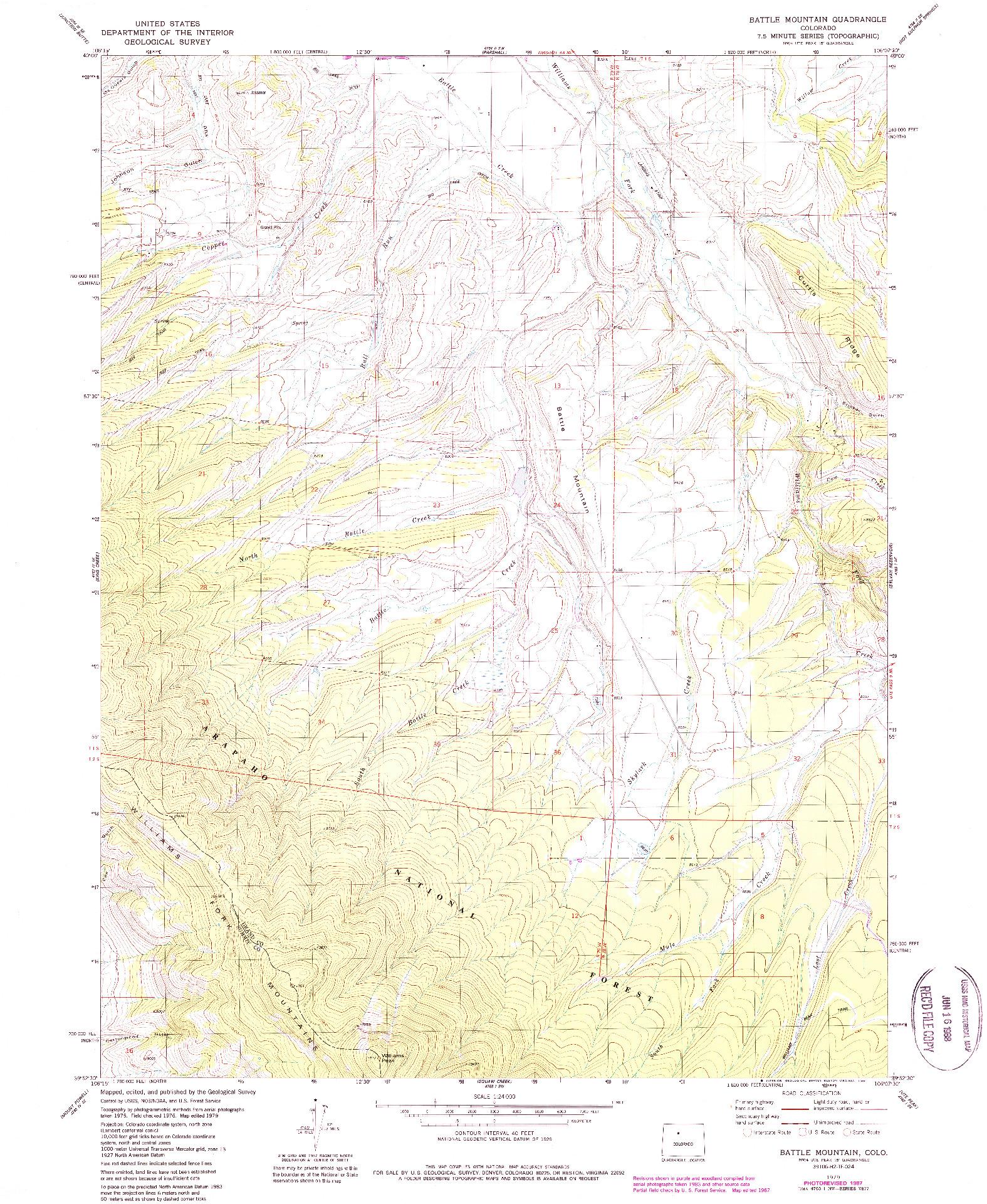 USGS 1:24000-SCALE QUADRANGLE FOR BATTLE MOUNTAIN, CO 1979