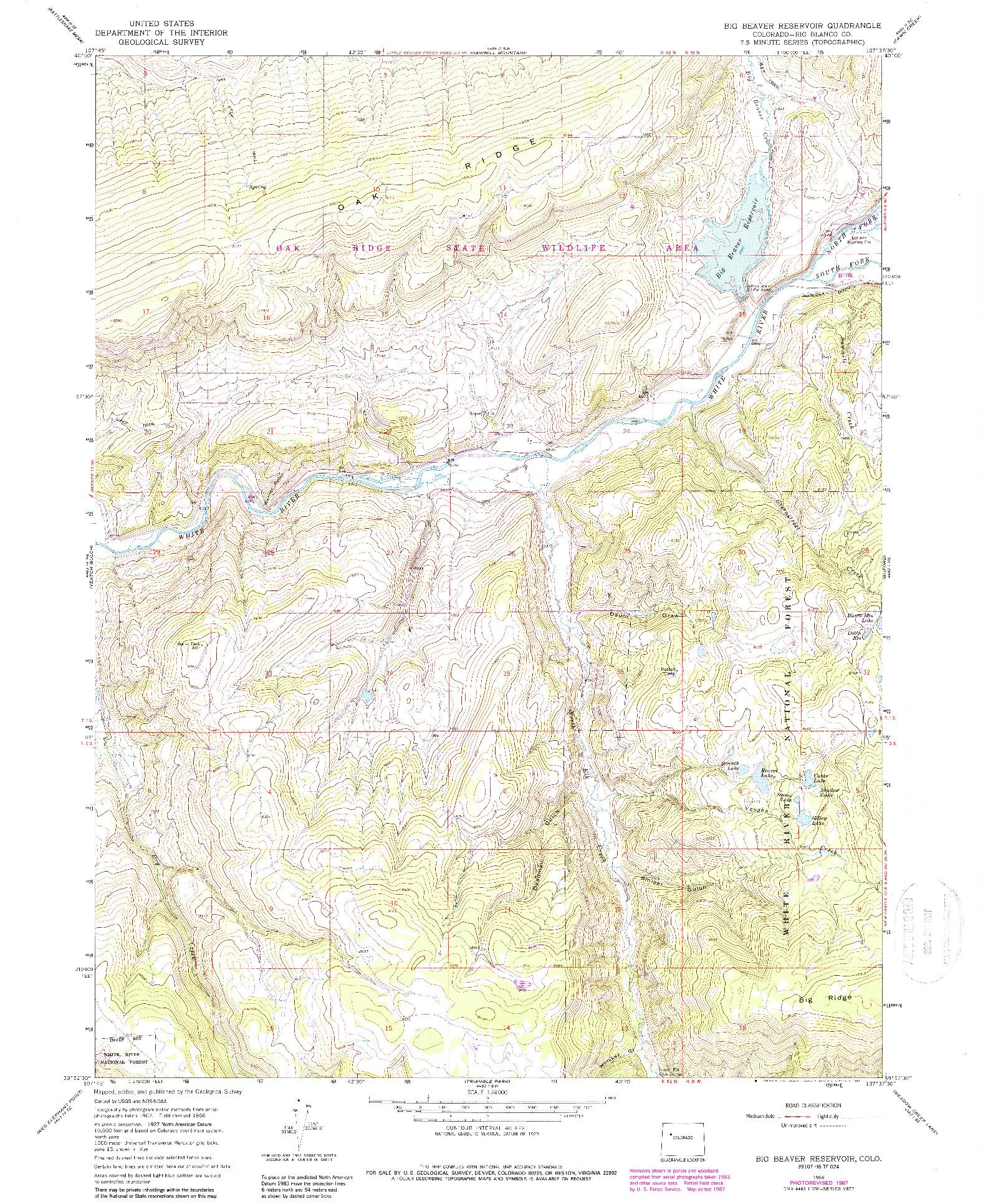 USGS 1:24000-SCALE QUADRANGLE FOR BIG BEAVER RESERVOIR, CO 1966