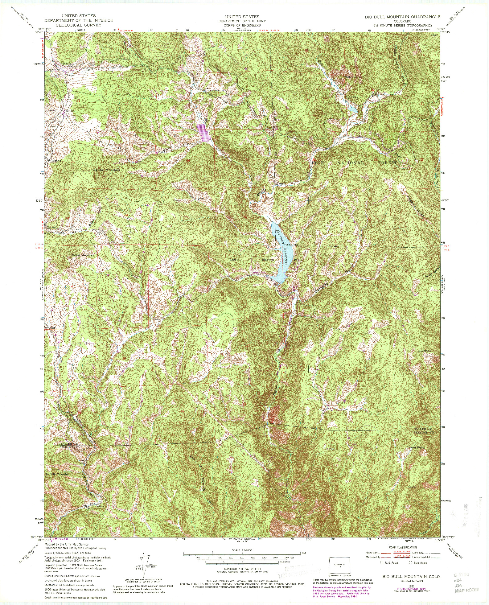 USGS 1:24000-SCALE QUADRANGLE FOR BIG BULL MOUNTAIN, CO 1951