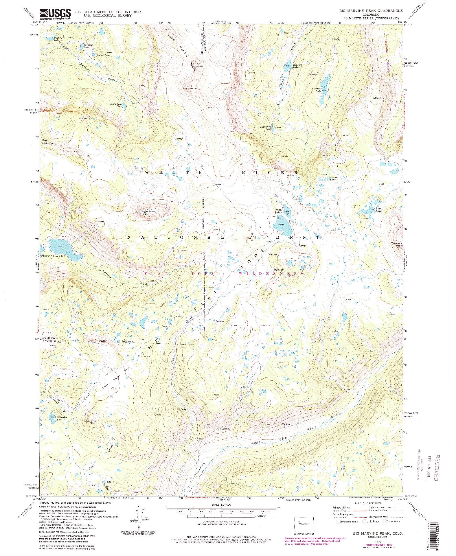 USGS 1:24000-SCALE QUADRANGLE FOR BIG MARVINE PEAK, CO 1977