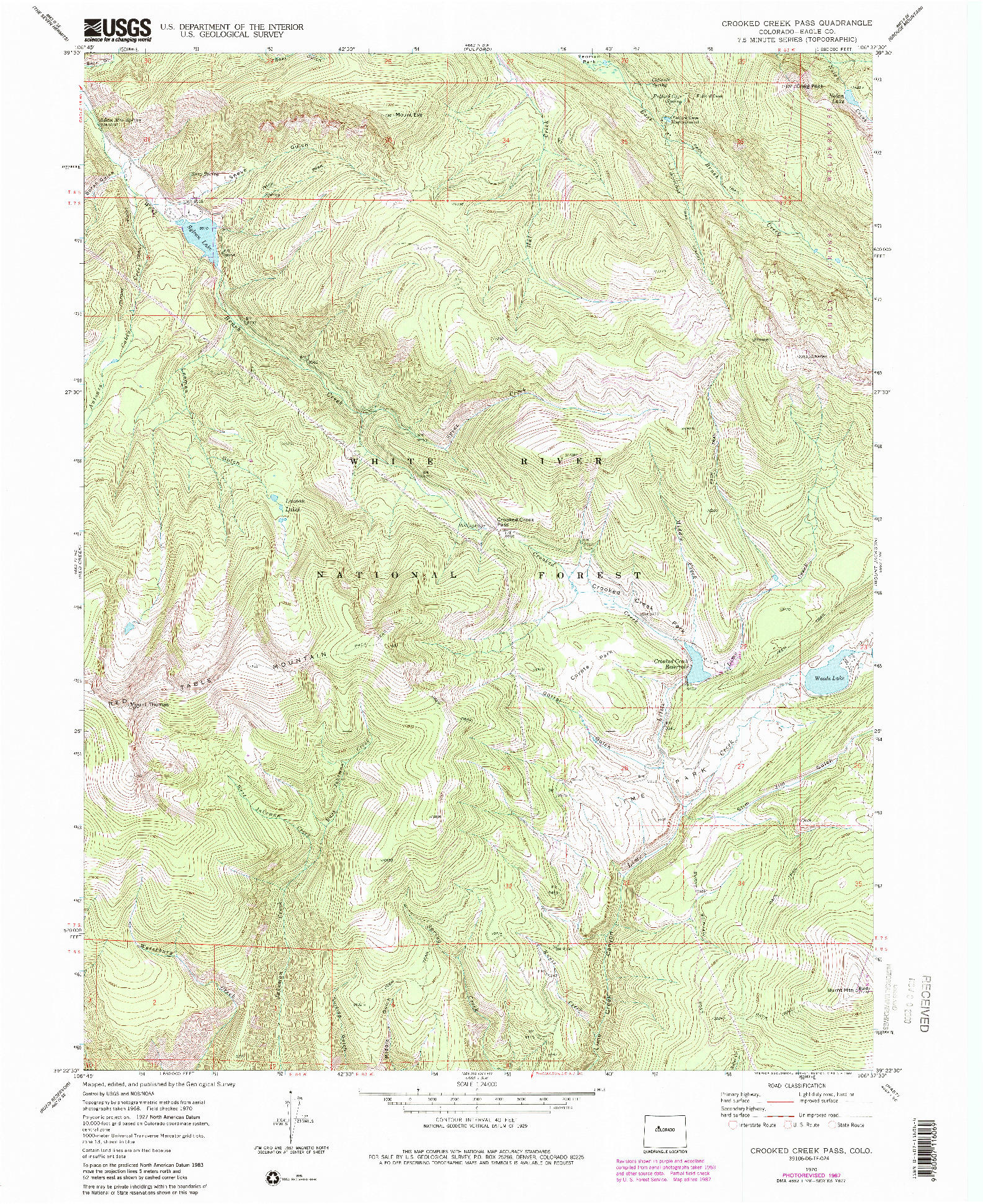 USGS 1:24000-SCALE QUADRANGLE FOR CROOKED CREEK PASS, CO 1970