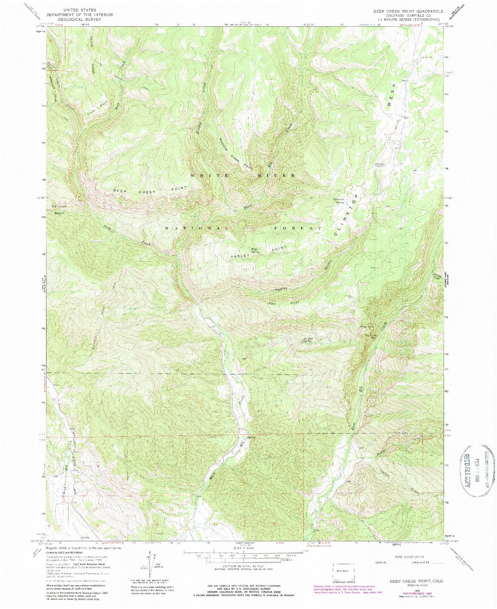 USGS 1:24000-SCALE QUADRANGLE FOR DEEP CREEK POINT, CO 1966