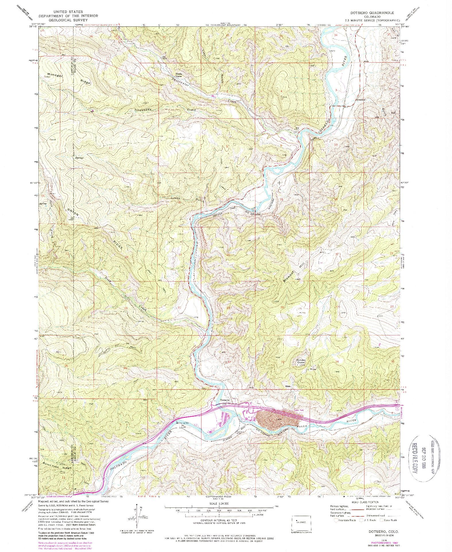 USGS 1:24000-SCALE QUADRANGLE FOR DOTSERO, CO 1974