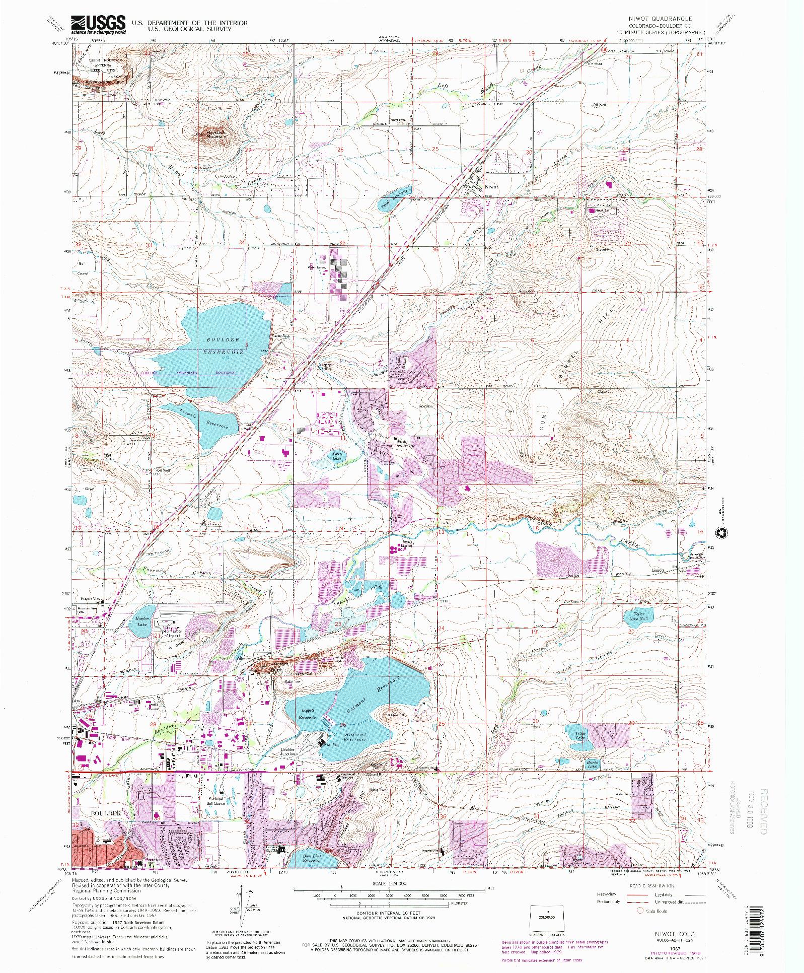 USGS 1:24000-SCALE QUADRANGLE FOR NIWOT, CO 1967
