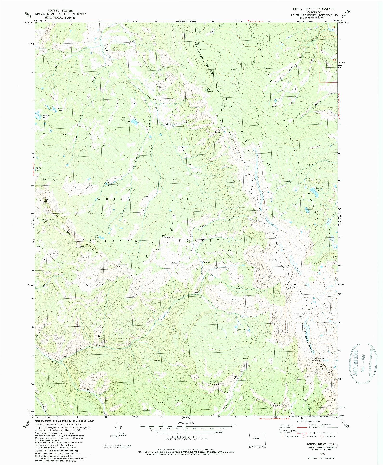 USGS 1:24000-SCALE QUADRANGLE FOR PINEY PEAK, CO 1980