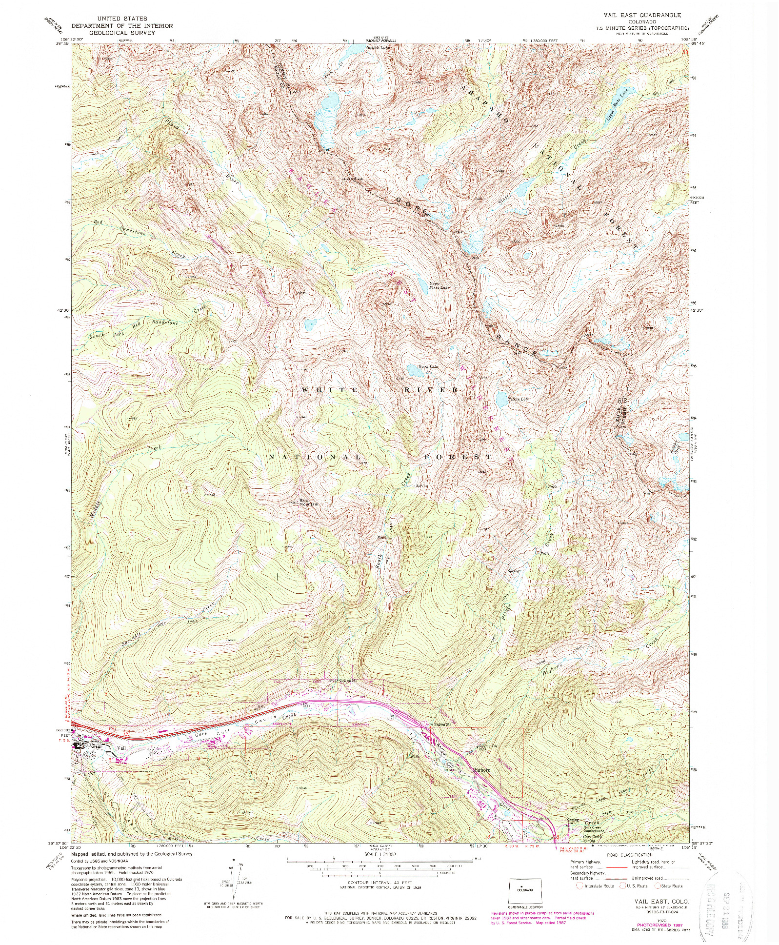 USGS 1:24000-SCALE QUADRANGLE FOR VAIL EAST, CO 1970
