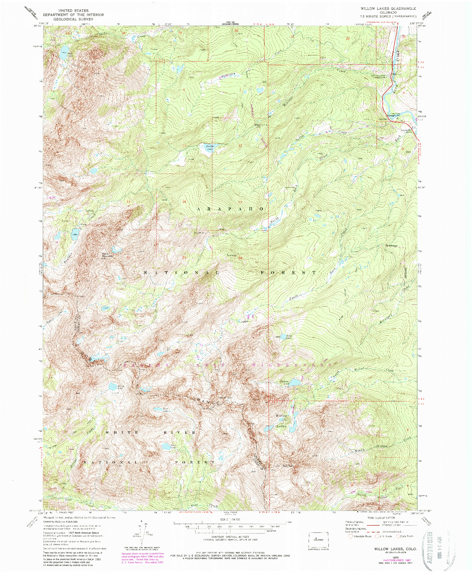USGS 1:24000-SCALE QUADRANGLE FOR WILLOW LAKES, CO 1970