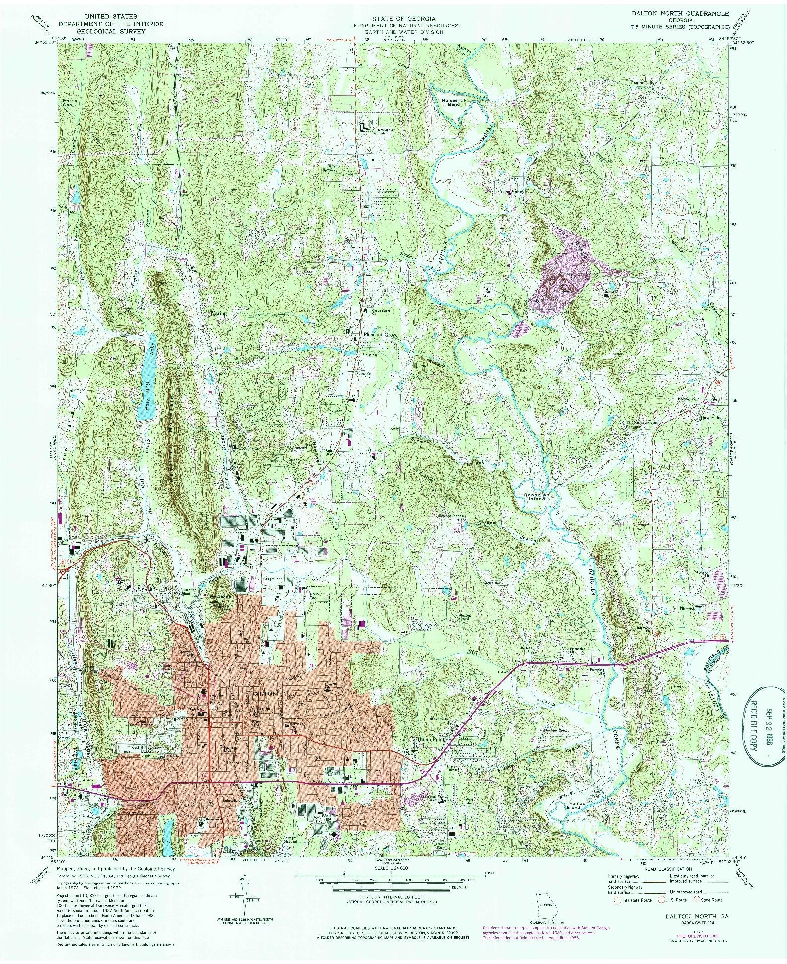 USGS 1:24000-SCALE QUADRANGLE FOR DALTON NORTH, GA 1972