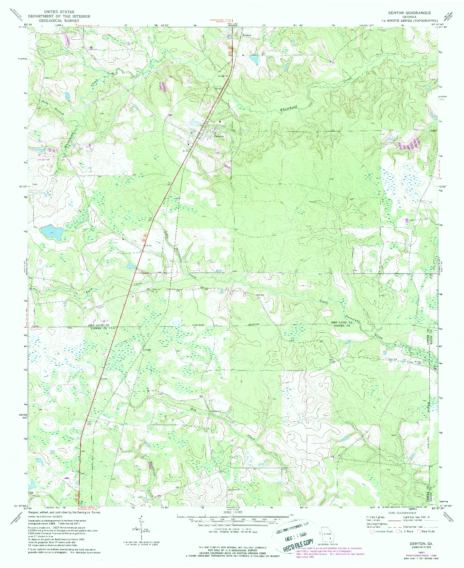 USGS 1:24000-SCALE QUADRANGLE FOR DENTON, GA 1971