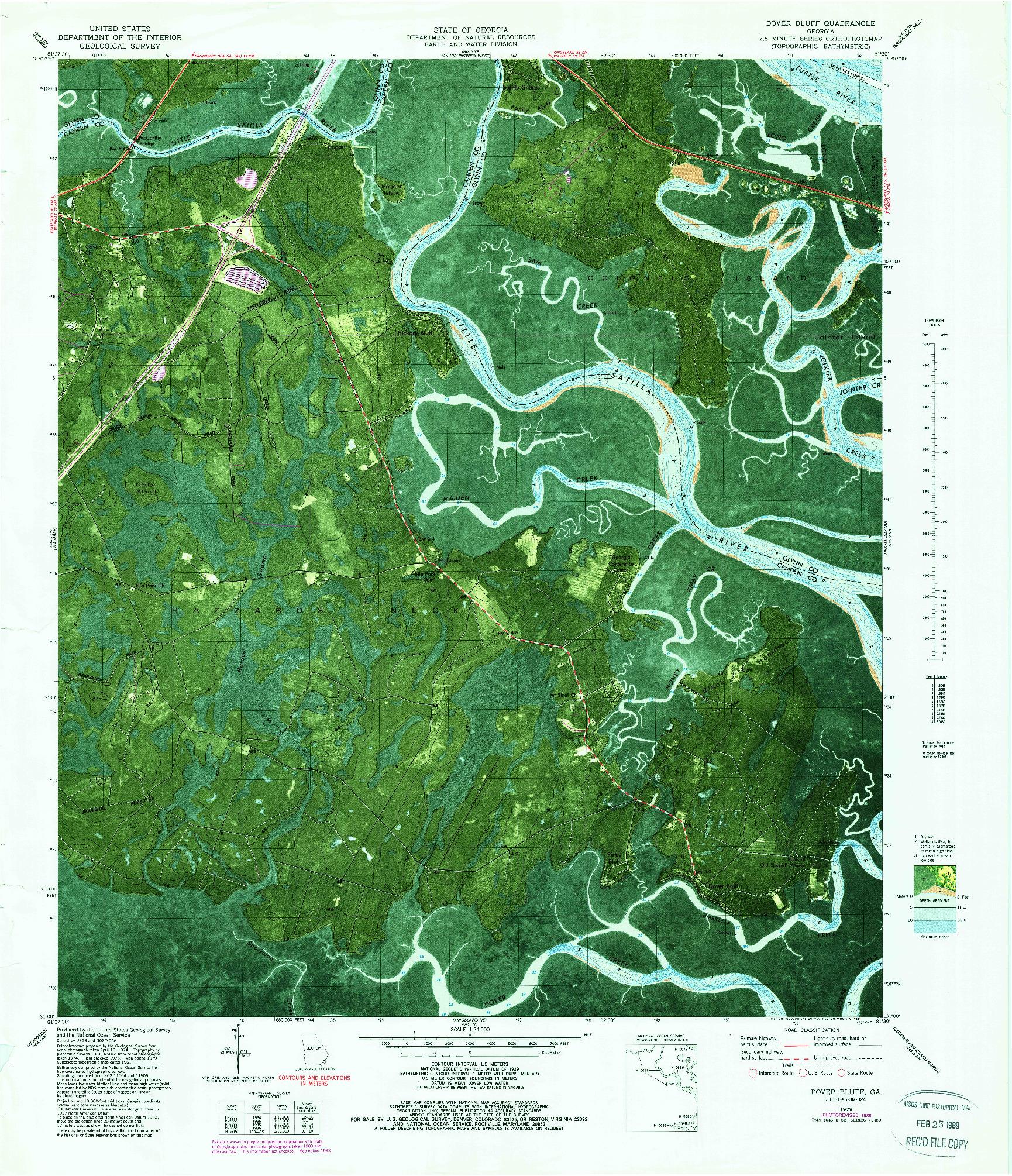 USGS 1:24000-SCALE QUADRANGLE FOR DOVER BLUFF, GA 1979