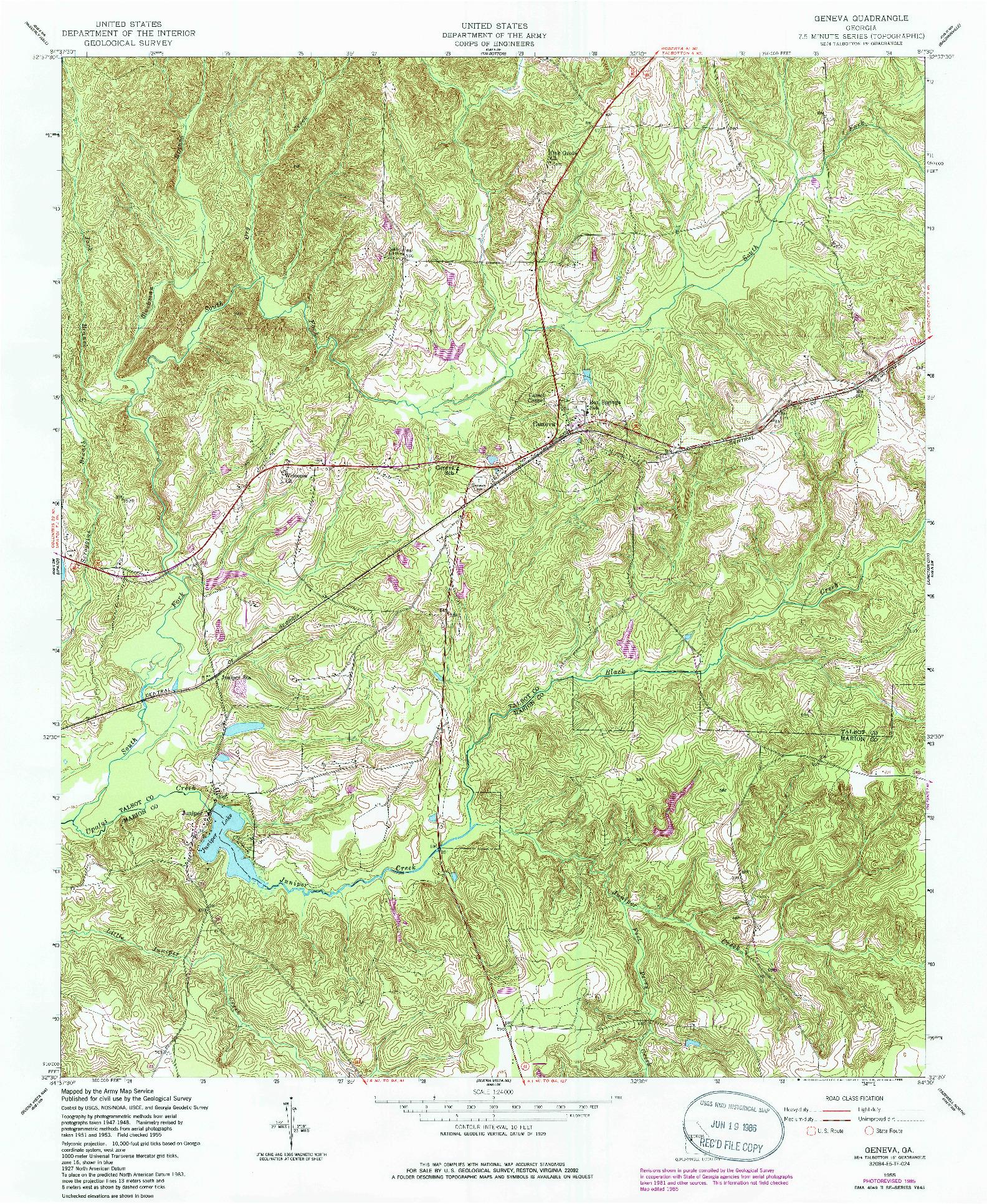 USGS 1:24000-SCALE QUADRANGLE FOR GENEVA, GA 1955