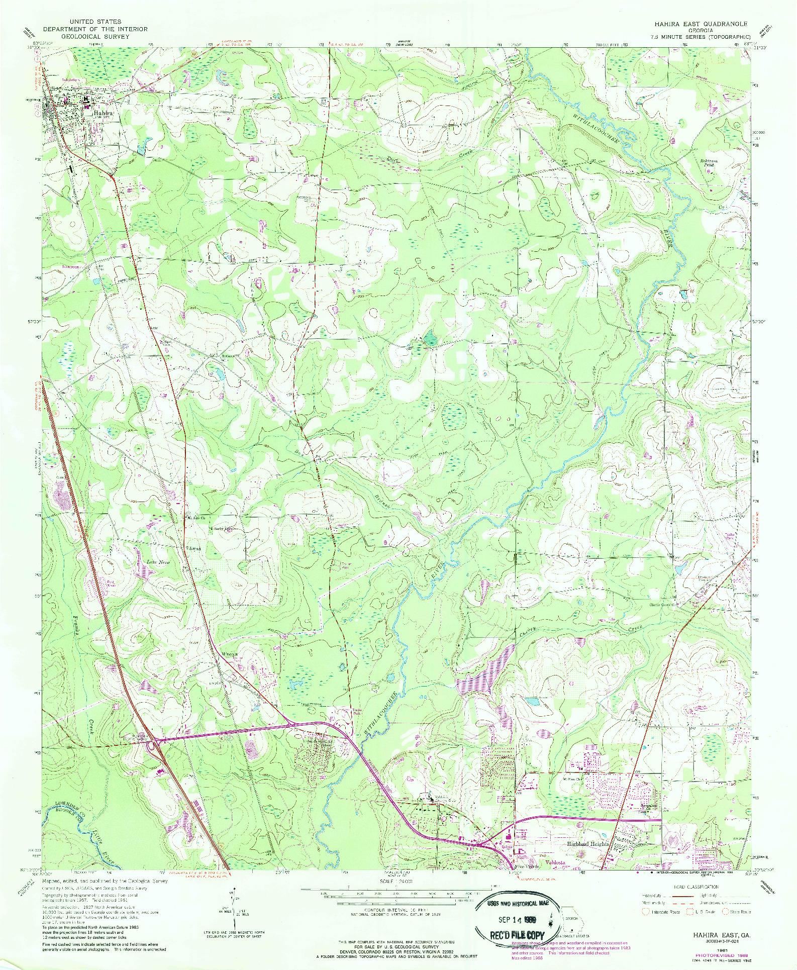 USGS 1:24000-SCALE QUADRANGLE FOR HAHIRA EAST, GA 1961